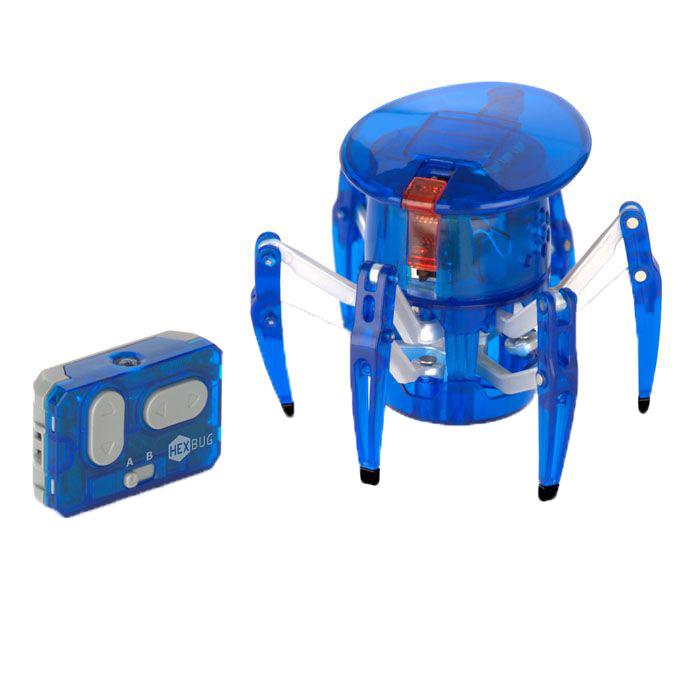 Микро-робот Hexbug Spider, цвет: синий451-1652_3Микро-робот Hexbug Spider - самый крупный представитель семейства Hexbug. Может перемещаться в любую сторону, двигается изящно и быстро. Красный светодиодный глаз, расположенный на вращающейся на 360° голове микро-робота, указывает направление его движения. С помощью двухканального пульта дистанционного управления вы сможете одновременно управлять двумя роботами-пауками. Внутреннюю конструкцию микро-робота можно просматривать благодаря прозрачному корпусу из прочного пластика. Hexbug Spider работает от 5 батареек типа AG13, три для самого микро-робота, две для пульта управления (батарейки входят в комплект). Гарантия: 15 дней.
