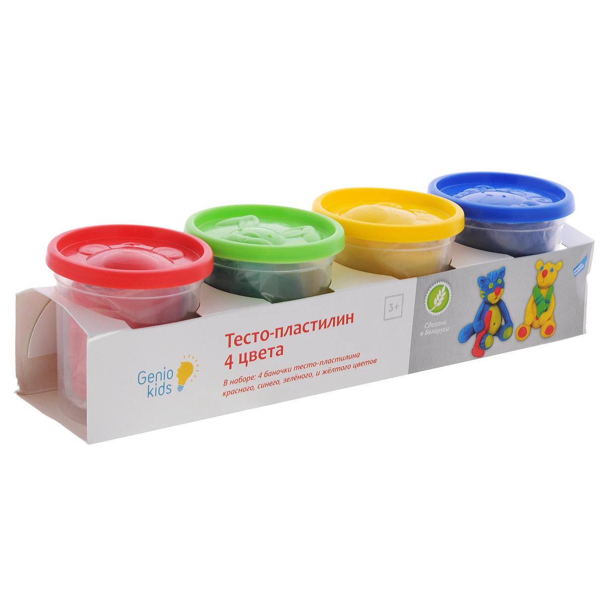 Тесто-пластилин Genio Kids, 4 цветаTA1010Тесто-пластилин - это натуральный и совершенно безвредный материал, созданный из пшеничной муки. Комплектность набора: 4 баночки с тесто-пластилином по 140г (синего, зеленого, красного и желтого цветов). Пластилин быстро высыхает, не имеет запаха, не липнет к рукам и одежде, легко смывается, а так же легко смешивается, что позволяет получать новые цвета. В крышке каждой баночки помещена готовая форма для лепки, с помощью которой ваш ребенок сможет легко самостоятельно сделать фигурку. Данный набор прекрасно развивает моторику рук и пространственное мышление, а также воображение и художественный вкус. Фигурка, сделанная своими руками, будет предметом гордости малыша и обязательно станет его любимой игрушкой.