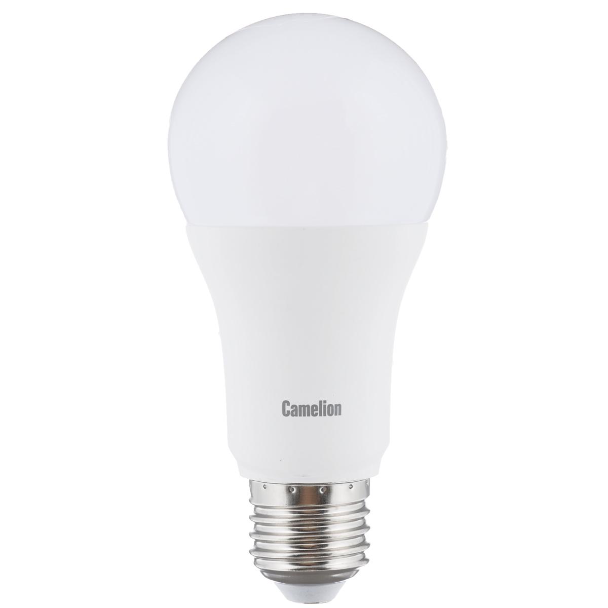 Светодиодная лампа Camelion Led Ultra, теплый свет, цоколь E27, 12 WLED12-A60/830/E27Светодиодная рефлекторная лампа Camelion Led Ultra применяется для замены энергосберегающей лампы или лампы накаливания в точечных и направленных источниках света. При этом она сэкономит ваши деньги за счет минимального потребления электроэнергии и долгого срока службы. Так же эта лампа обладает высоким индексом цветопередачи и не мерцает, что делает ее свет комфортным для глаз. Нагрев LED лампы минимален, что позволяет использовать ее в натяжных потолках и других конструкциях, требовательных к температурному режиму. При производстве светодиодных ламп не используются вредные вещества, в том числе ртуть, поэтому не требует утилизации. Рабочий диапазон напряжений - 220-240В / 50Гц. Индекс цветопередачи: 77+. Угол светового луча: 240°. Коэффициент пульсации освещенности (Кп): менее 1%.