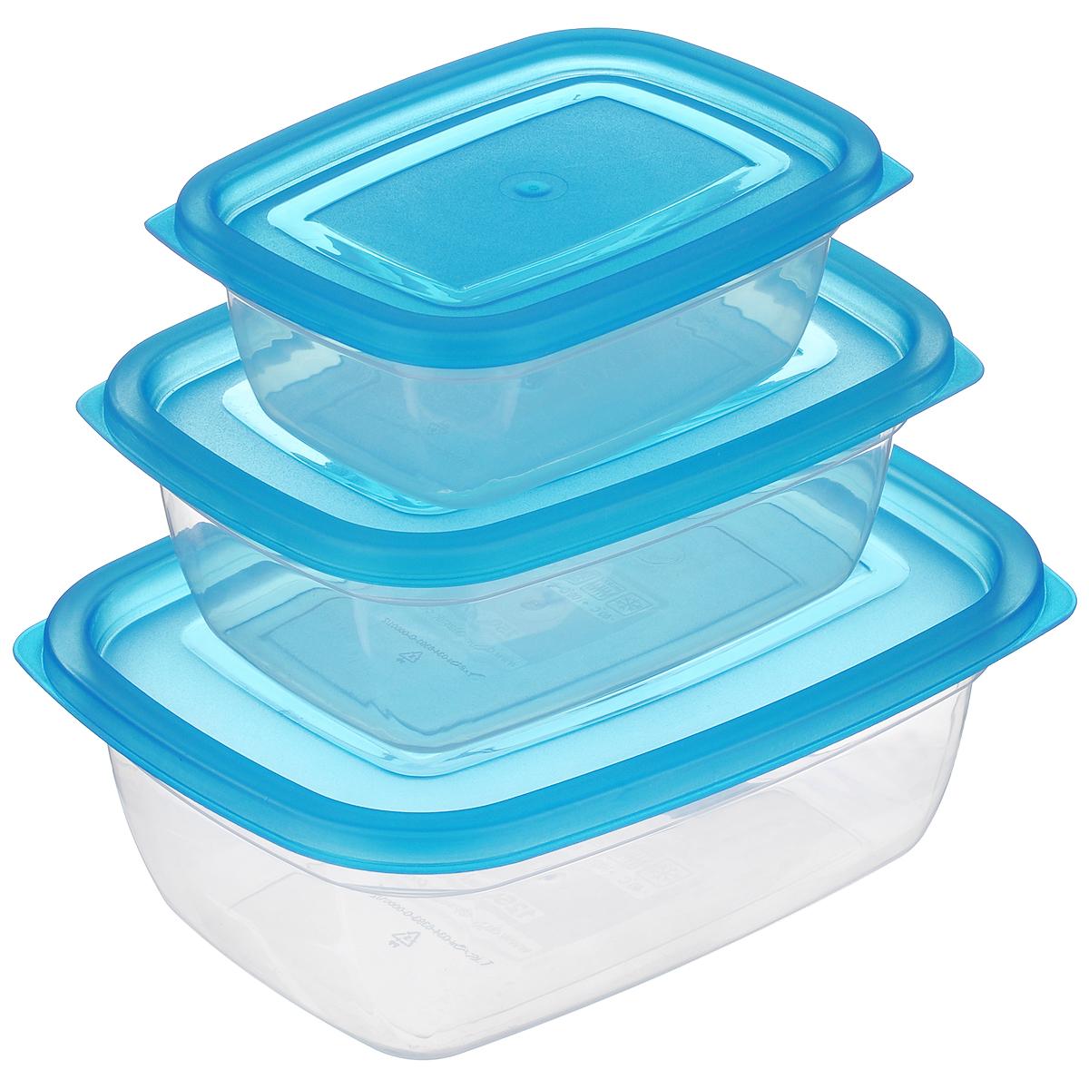 """Набор прямоугольных контейнеров """"Dunya Plastik"""", цвет: прозрачный, синий, 3 шт. 30090"""