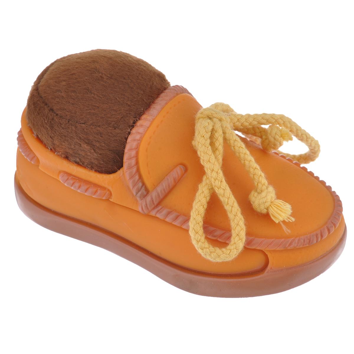 Игрушка для собак Beeztees Изящный ботинок, цвет: оранжевый24887_620900оранжевыйИгрушка Beeztees Изящный ботинок изготовлена из винила и текстиля, с использованием только безопасных, не токсичных красителей. Великолепно подходит для игры и массажа десен вашей собаки. Такая игрушка порадует вашего любимца, а вам доставит массу приятных эмоций, ведь наблюдать за игрой всегда интересно и приятно.