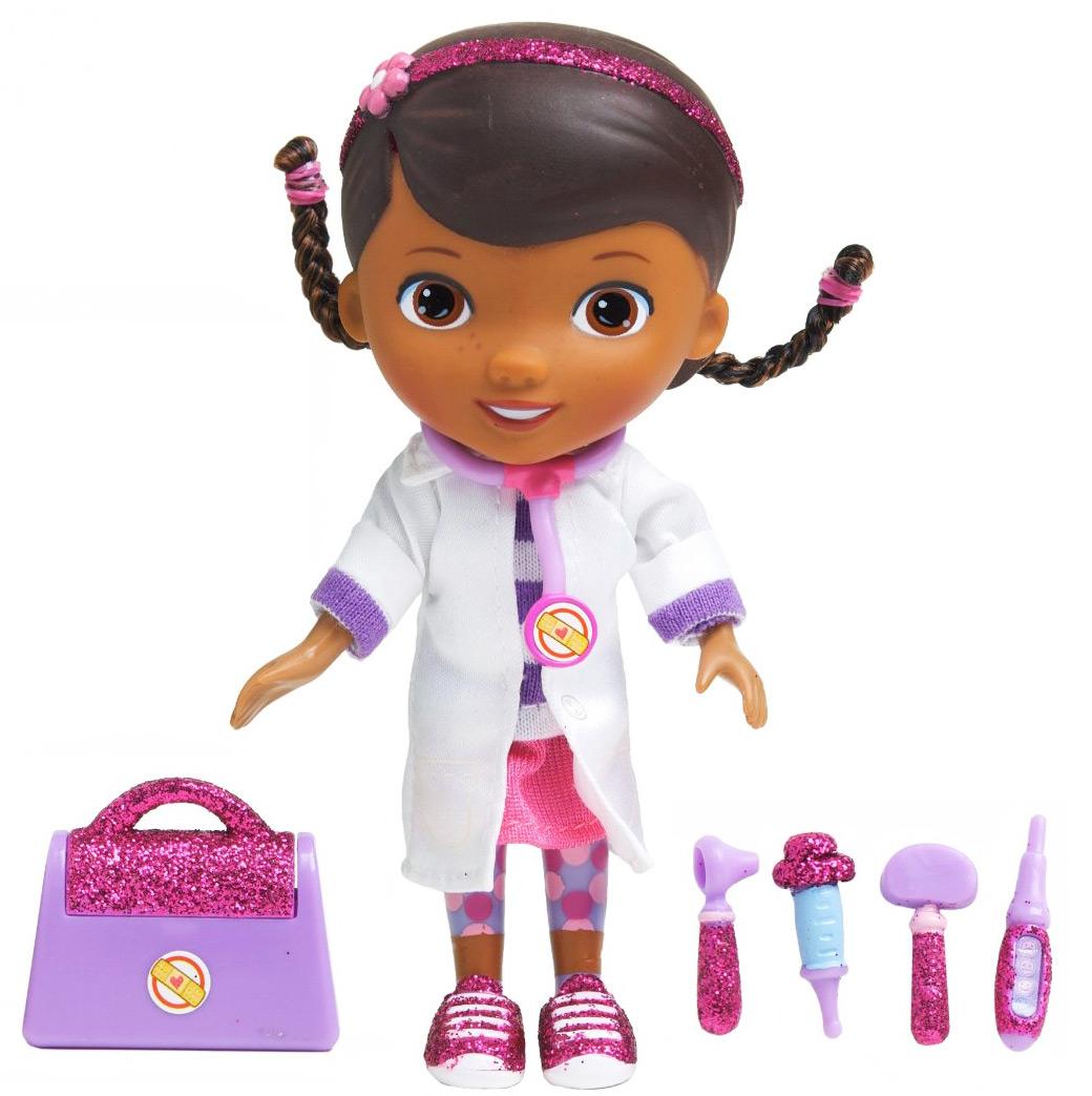 Кукла Disney Доктор Плюшева. Время осмотра, в белом халате, с аксессуарами90045_белый халатКукла Disney Доктор Плюшева. Время осмотра привлечет внимание вашей малышки и подарит много часов, посвященных игре с ней. Она выполнена из пластика и пластизоля в виде персонажа популярного мультсериала Доктор Плюшева - девочки Дотти. Она очень добрая, приветливая и всегда готова вылечить любую игрушку. Кукла одета в футболку, юбку и медицинский халатик. В комплект также входят четыре медицинских инструмента, чемоданчик доктора и картонная фигурка бегемотихи. Игра с куклой разовьет в вашей малышке тактильную чувствительность и воображение, а также чувство ответственности и заботы. Порадуйте свою принцессу таким великолепным подарком!