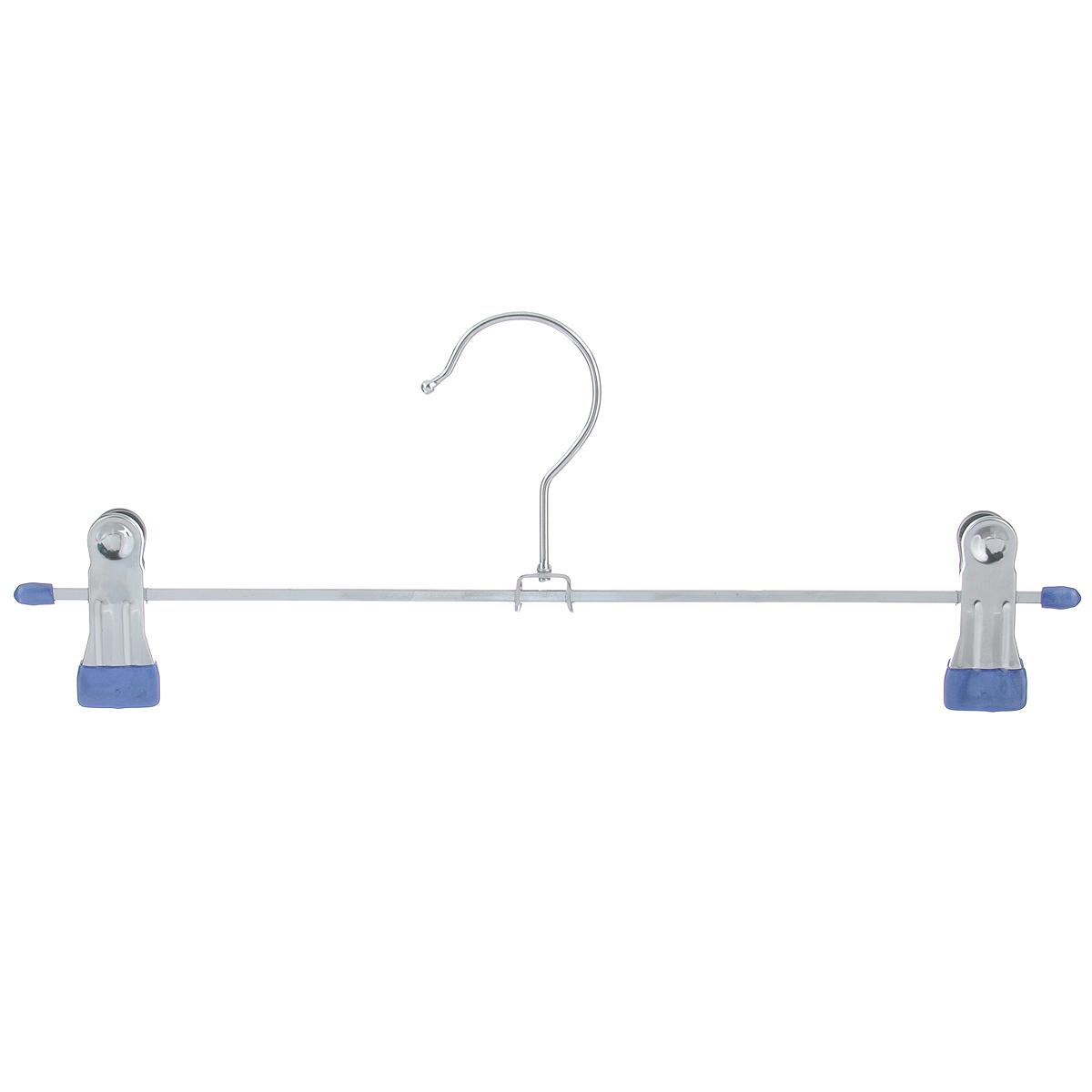 Вешалка для брюк Luminello, с зажимами, цвет: синий, длина 30 смWHM-09/S синийВешалка для брюк Luminello изготовлена из высококачественного металла. Зажимы имеют резиновое покрытие, что исключает случайное соскальзывание одежды. Оптимальная длина позволяет поместить данную вешалку в любом шкафу. Вешалка для брюк Luminello  станет практичным и полезным аксессуаром в вашем гардеробе.