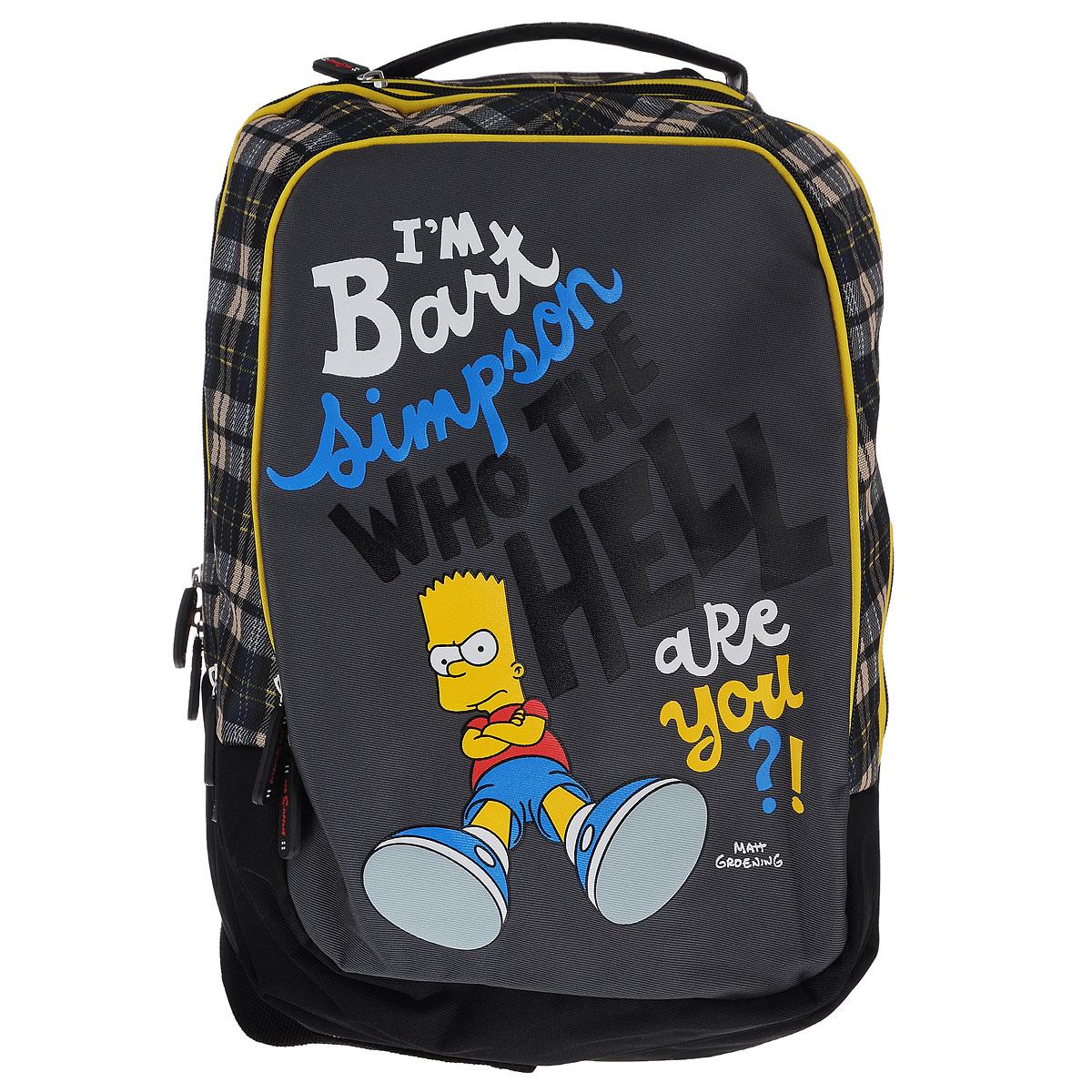 """Рюкзак молодежный Proff """"The Simpsons"""", цвет: черный, желтый, серый ( SI15-BPA-14 )"""