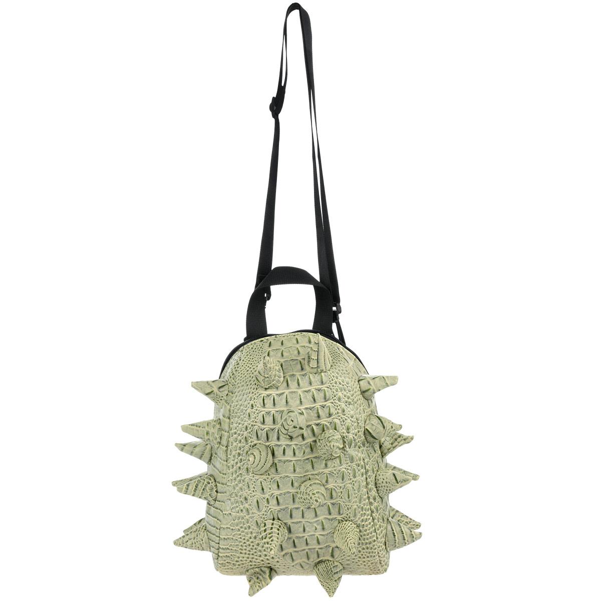 MadPax Рюкзак детский Gator Nibbler цвет салатовый зеленый89855Детский рюкзак Gator Nibbler обязательно понравится вашей малышке, и она с удовольствием будет носить в нем любимые вещи или игрушки. Рюкзак сделан из современных полимерных материалов (поливинил) - эффект натуральной, грубо выделанной шкуры рептилии. Поверхность рюкзака декорирована конусообразными вставками из того же материала, что и основная. Рюкзак состоит из одного вместительного отделения на молнии, внутри которого имеется крепление для напитков в виде небольшой боковой перегородки-сетки. На задней стенке рюкзак дополнен небольшим карманом-окошком для контактной информации. К изделию прилагаются мягкие плечевые ремни с несколькими пряжками для надежной фиксации. Рюкзак оснащен ручкой для переноски. Подкладка нейлоновая - рюкзак легко чистится, и сохраняет форму, защищая содержимое.