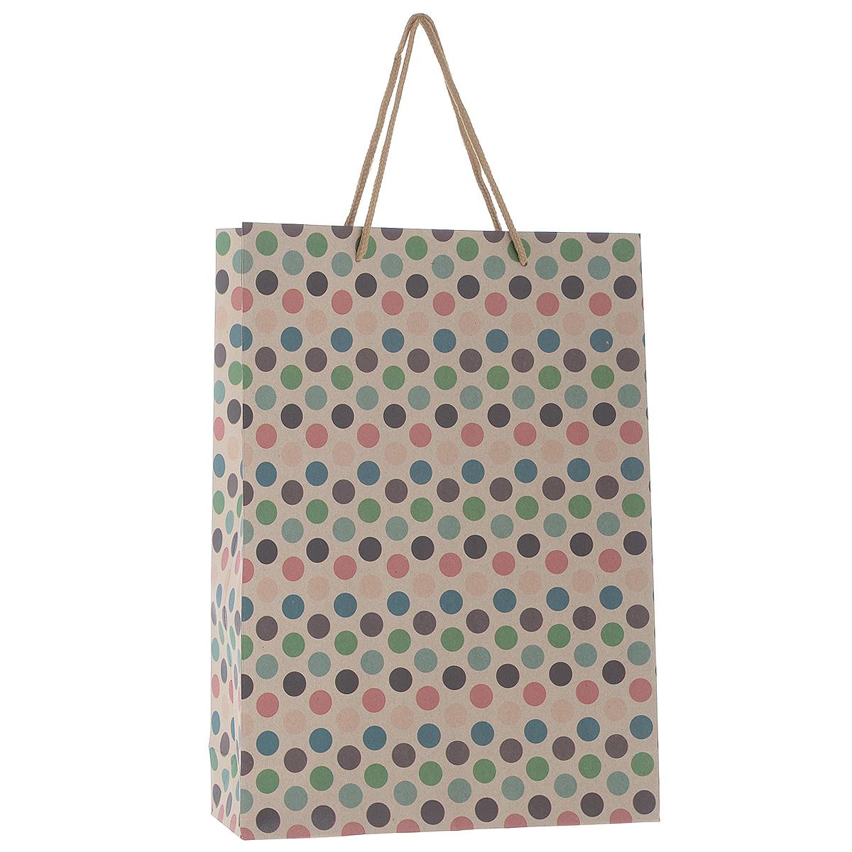 Пакет подарочный Горошек, 33 см х 24 см х 8 см38864Подарочный пакет Горошек, изготовленный из плотной бумаги, станет незаменимым дополнением к выбранному подарку. Дно изделия укреплено плотным картоном, который позволяет сохранить форму пакета и исключает возможность деформации дна под тяжестью подарка. Для удобной переноски на пакете имеются две ручки из шнурков. Подарок, преподнесенный в оригинальной упаковке, всегда будет самым эффектным и запоминающимся. Окружите близких людей вниманием и заботой, вручив презент в нарядном, праздничном оформлении.