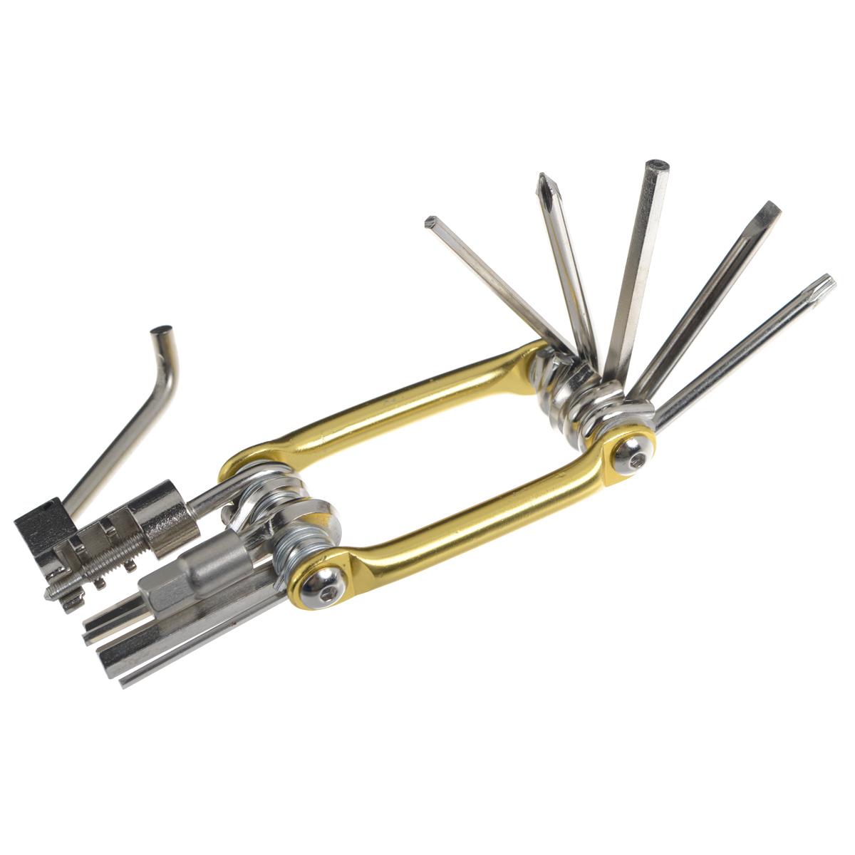 Набор велосипедный Fit для мелкого ремонта, цвет: золотистый, 11 функций64215 золотоНабор Fit предназначен велосипедного ремонта крепежных элементов. В комплект входит: - 7 шестигранных ключей: H2, H2.5, H3, H4, H5, H6, H8; - ключ торкс: T25; - 2 отвертки: SL5 и PH1; - выжимка для цепи. Ключи, отвертки и выжимка для цепи выполнены из хром-ванадиевой стали, корпус выполнен из алюминия. Набор компактный, занимает мало места. Набор Fit станет незаменимым для любителей езды на велосипеде.