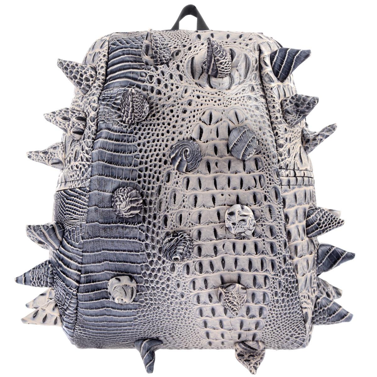 """Рюкзак городской MadPax Gator Half, цвет: коричневый, серый, 16 лKZ24483514Городской рюкзак MadPax Gator Half - это стильный и практичный аксессуар, уместный в ритме большого города. Верх рюкзака выполнен из 100% поливинила с тиснением под рептилию, шипы придают изделию неповторимый дизайн. Подкладка изготовлена из нейлона. Рюкзак имеет одно основное отделение, которое закрывается на застежку-молнию. Внутри поместится ноутбук с диагональю 13"""", iPad и бумаги формата А4. Также внутри содержится небольшой карман на молнии для мелких вещей. Модель оснащена ручкой для переноски в руке, а также мягкими и широкими плечевыми лямками, которые можно регулировать по длине. Полностью вентилируемая и ортопедическая спинка создает дополнительный комфорт вашей спине. Сзади расположен кармашек из прозрачного ПВХ для визитки. MadPax - это крутые рюкзаки в стиле фанк, которые своим неповторимым дизайном бросают вызов монотонности и скуке. Эти уникальные рюкзаки помогают детям всех возрастов самовыражаться, а их внутренняя структура с отделениями,..."""