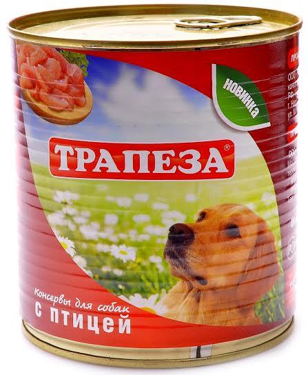 Консервы для собак Трапеза с птицей, 750 г54367Собачьи консервы Трапеза уже более двадцати лет производятся на крупном заводе, расположенном в Дании. Эта продукция имеет невысокую цену и отличное качество. В состав консервов Трапеза входят только натуральные компоненты, а упаковка изготавливается из современных материалов, не выделяющих токсичных веществ и помогающих надолго сохранить вкус данных продуктов. Состав: мясо птицы, субпродукты, натуральная желирующая добавка, злаки(не более 2%), соль, вода. Товар сертифицирован.