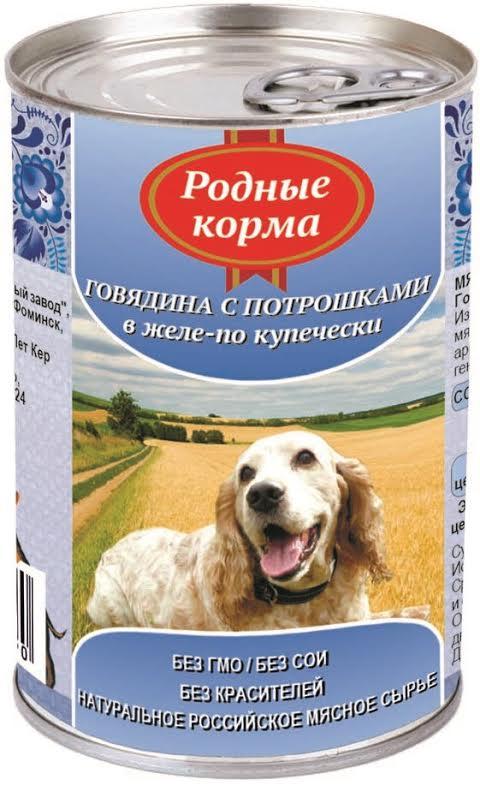Консервы для собак Родные Корма, с говядиной и потрошками в желе по-купечески, 410г59892Консервы для собак Родные Корма, с бараниной и потрошками в желе по-восточному, 410г Консервы для собак Родные Корма - это полнорационный консервированный корм для собак всех пород в виде нежных мясных кусочков из говядины с потрошками в желе. Изготовлено из натурального российского сырья. Не содержит сои, ароматизаторов, искусственных красителей, ГМО. Состав: говядина, субпродукты, натуральная желирующая добавка, злаки (не более 2%), соль, вода. Пищевая ценность (100г): протеин (8,0г), жир (7,0г), углеводы (4,0г), зола (2,0 г), клетчатка (1,0г), влага до 80%. Энергетическая ценность: 111 кКал. Вес: 410 г. Нормы кормления/день: 25-35г на 1кг веса животного. Товар сертифицирован. Условия хранения: от 0 до 25