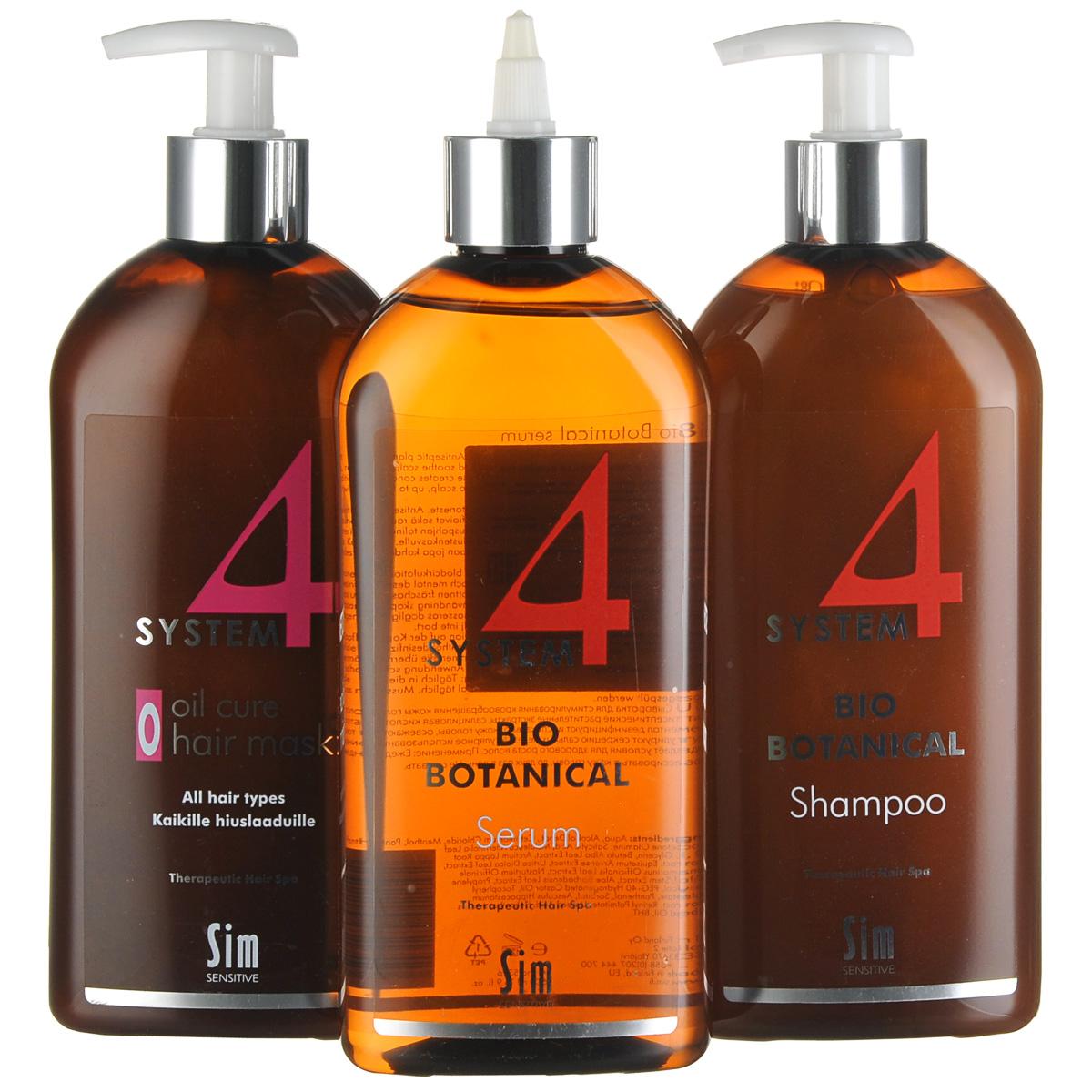 SIM SENSITIVE МАКСИ Комплекс от выпадения волос SYSTEM 4 : Био Ботанический шампунь SYSTEM 4 (500мл), Био Ботаническую сыворотку SYSTEM 4 (500мл), Терапевт. маскаО SYSTEM 4 (500мл), маленький пакет50404ОСТАНАВЛИВАЕТ ВЫПАДЕНИЕ ВОЛОС СОЗДАЕТ УСЛОВИЯ ДЛЯ РОСТА НОВЫХ ЗДОРОВЫХ ВОЛОС ПИТАЕТ ВОЛОСЯНЫЕ ЛУКОВИЦЫ И НОРМАЛИЗУЕТ МИКРОЦИРКУЛЯЦИЮ КОЖИ ГОЛОВЫ Трихологами доказано, что в борьбе с выпадением волос решающим фактором является время. Если вы игнорируете симптомы болезни и затягиваете с профессиональным лечением, то вы рискуете потерять волосяные покровы безвозвратно. Комплекс от выпадения волос «Систем 4» включает средства, работающие в 3 этапа: Этап 1. Глубокое очищение кожи головы Этап 2. Насыщение волосяных луковиц питательными веществами Этап 3. Стимуляция роста новых здоровых волос Эффективность комплекса подтверждена ведущими дерматологами и три- хологами России* НАЧНИТЕ ТЕРАПИЮ С «СИСТЕМ 4» СЕГОДНЯ И УЖЕ ЧЕРЕЗ 30 ДНЕЙ ВЫ ВЕРНЕТЕ СЕБЕ ЗДОРОВЫЕ ГУСТЫЕ ВОЛОСЫ!* Эффективность комплекса подтверждается научными работами: «Cеборейные формы поредения волос» Бутов Ю.С., Волкова Е.Н., Полеско И.В., Кафедра кожных и венерических болезней с курсом дерматокосметологии ФУВ РГМУ, 2004, «Опыт...