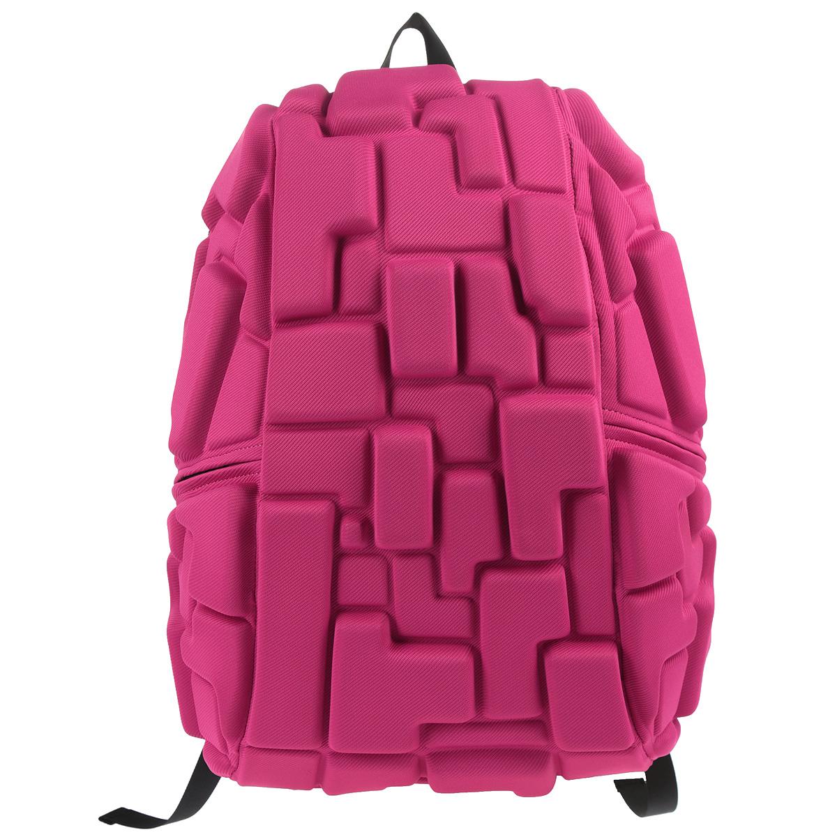 Рюкзак городской MadPax Blok Full, цвет: розовый78685Городской рюкзак MadPax Blok Full - это стильный и практичный аксессуар, который станет незаменимым в ритме большого города. Выполнен из 100% полиспандекса розового цвета, объемные блоки придают изделию неповторимый дизайн. Рюкзак имеет одно основное отделение на застежке-молнии с двумя бегунками. Бегунки застежки дополнены металлическими держателями. Внутри отделения находится мягкий карман для ноутбука, закрывающийся хлястиком на липучке. Также внутри находится небольшой карман на молнии. Рюкзак имеет два прорезных боковых кармана, закрывающиеся на застежки-молнии. Сзади расположен прозрачный кармашек для визитки. Модель оснащена ручкой для переноски в руке, а также широкими плечевыми лямками, которые можно регулировать по длине. Специальная застежка-крепление соединяет и фиксирует лямки в районе груди, это позволяет равномерно распределить нагрузку на плечи и спину при максимальной загрузке рюкзака. Конструкция спинки дополнена эргономичными подушечками,...