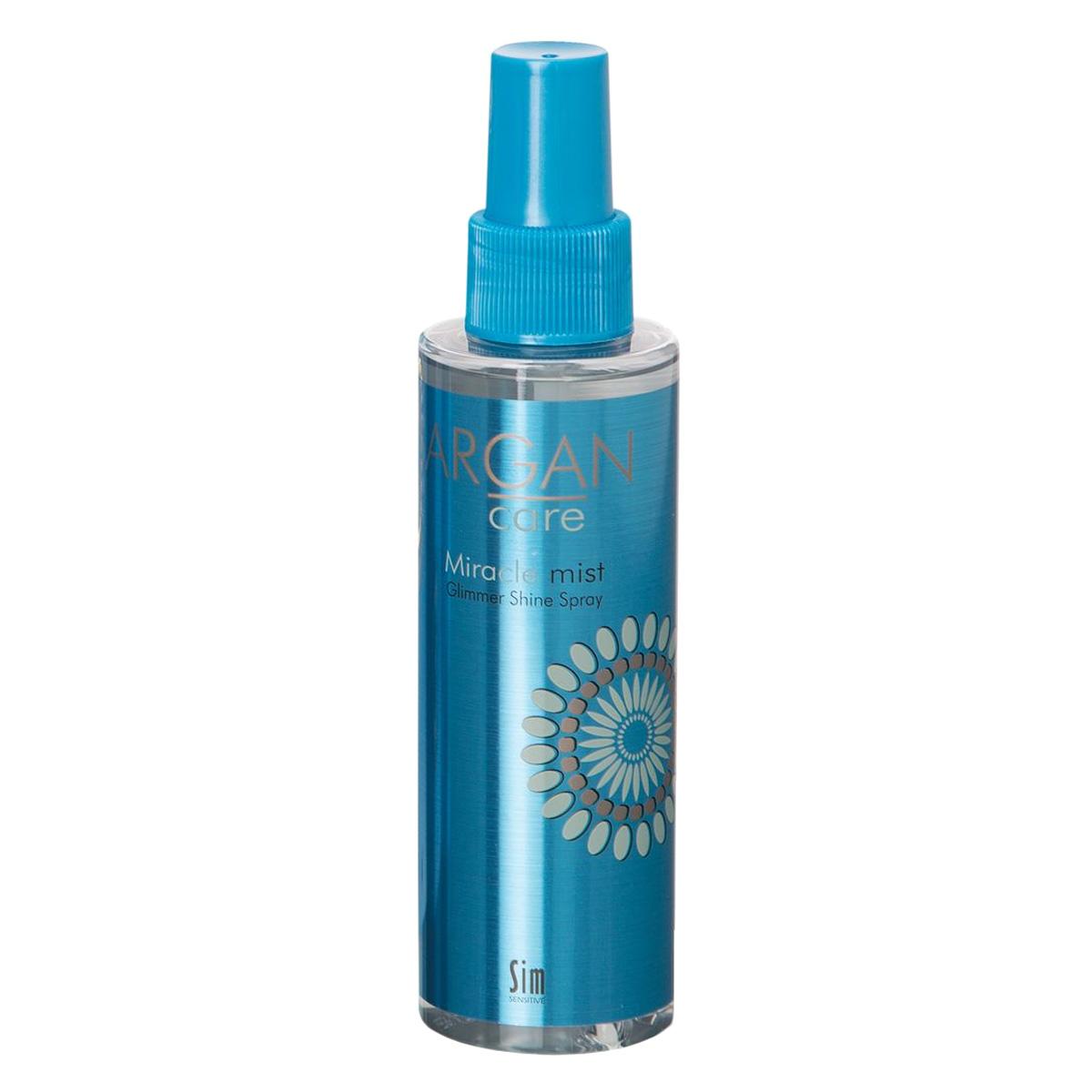 SIM SENSITIVE Спрей-блеск для волос средней фиксации Argan Care Miracle Mist Glimmer Shine Spray Миракл Мист Глиммер Шайн 150 мл4203Мгновенно увлажняющий и восстанавливающий спрей-блеск для поврежденных волос Арган Кеа Миракл Мист Глиммер Шайн. Мiracle Mist Glimmer Shine Spray, Облегченная формула спрея Миракл Мист Глиммер Шайн, насыщенного экстрактами из масел Арганы, Жожоба и миндального ореха, мгновенно наполняет волосы влагой, облегчает их расчесывание и восстанавливает поврежденные волосы, обеспечивая долгий эффект бриллиантового блеска и защиту от внешних повреждений. Волосы остаются такими же легкими, как были.