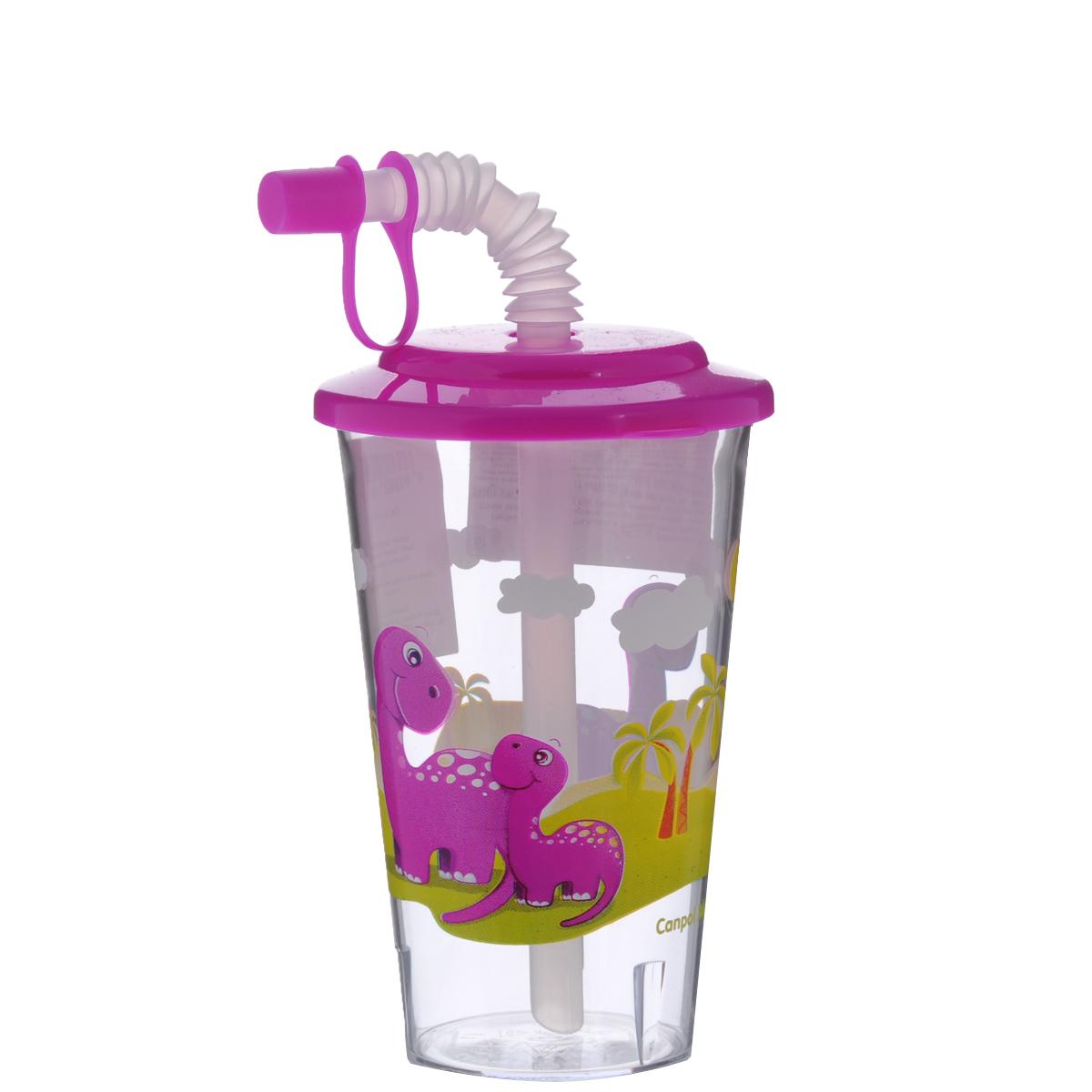 Canpol Babies Поильник с трубочкой Динозавры цвет розовый 320 мл4/112_розовый/динозаврыПоильник Canpol Babies с гибкой трубочкой идеально подойдет для обучения ребенка навыкам питья через трубочку и облегчит переход от бутылочки к стаканчику. Трубочка оснащена защитным колпачком и может складываться, что позволяет регулировать ее длину. При необходимости крышку с трубочкой можно снять и использовать поильник как стаканчик. Крышка поильника выполнена из безопасного пластика яркого цвета, а стаканчик оформлен красочным изображением забавных животных - динозавриков. Такой поильник привлечет внимание вашего малыша и сделает процесс кормления веселым и приятным.