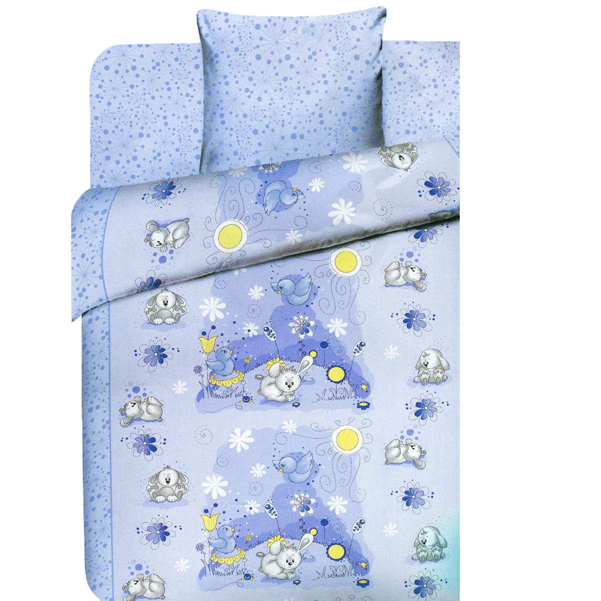 Детское постельное белье Василек Плюшевые зайки (ясельный КПБ, хлопок, наволочка 40х60), цвет: синий3976/2Детское постельное белье Василек Плюшевые зайки прекрасно подойдет для вашего малыша. Текстиль произведен из 100% хлопка. При нанесении рисунка используются безопасные натуральные красители, не вызывающие аллергии. Гладкая структура делает ткань приятной на ощупь, она прочная и хорошо сохраняет форму, мало мнется и устойчива к частым стиркам. Комплект состоит из наволочки, простыни и пододеяльника. Яркий рисунок непременно понравится вашему ребенку. В комплект входят: Пододеяльник - 1 шт. Размер: 145 см х 115 см. Простыня - 1 шт. Размер: 150 см х 120 см. Наволочка - 1 шт. Размер: 40 см х 60 см.