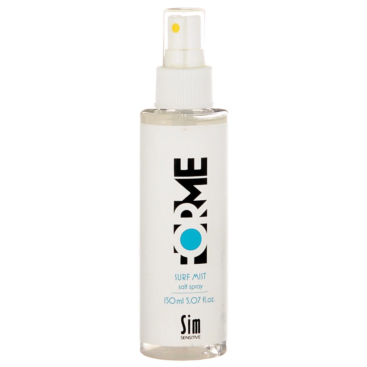 SIM SENSITIVE Cпрей с морской солью FORME Surf Mist Salt Spray 150мл5355Спрей для укладки волос с морской солью, подчеркивает текстуру и объем волос. Невесомый спрей с морской солью Серф Мист, подчеркивает текстурированность волос и создает эффект пляжной укладки. В состав спрея входит экстракт клюквы и УФ-фильтр, которые защищают волосы от вредных воздействий окружающей среды. Экстракт клюквы, благодаря большой концентрации витаминов и микроэлементов, питает, ухаживает и защищает волосы. Фиксация: 5 Объем: 5 Блеск: 4