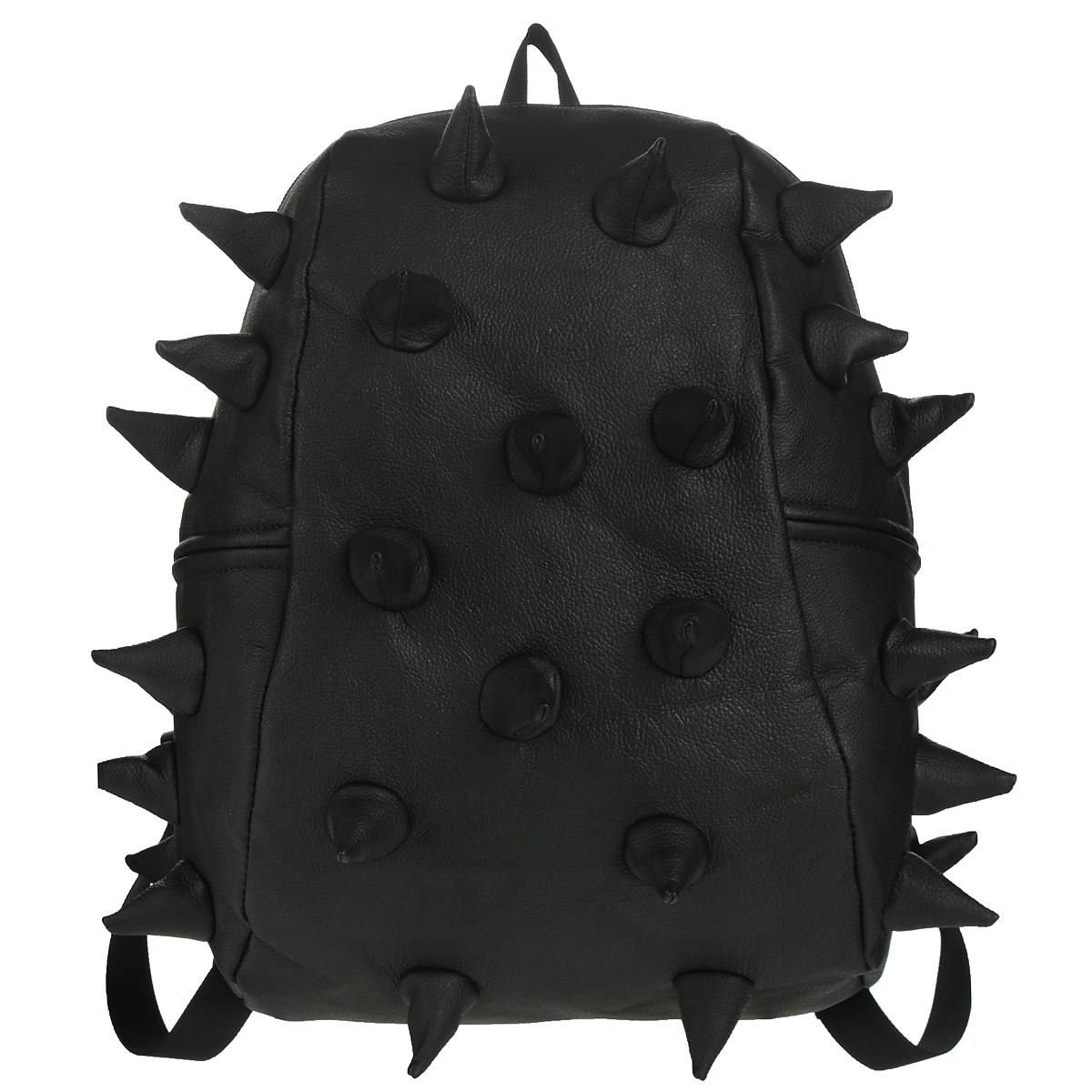 """Рюкзак городской MadPax Rex Half, цвет: черный, 16 лKZ24483248Городской рюкзак MadPax Rex Half - это стильный и практичный аксессуар, который станет незаменимым в ритме большого города. Верх рюкзака выполнен из 100% полиуретана, шипы придают изделию неповторимый дизайн. Подкладка изготовлена из нейлона. Рюкзак имеет одно основное отделение на застежке-молнии. Внутрь поместится ноутбук с диагональю экрана 13"""", iPad или бумаги формата А4. Также внутри содержится небольшой карман на молнии для мелких вещей. Модель оснащена ручкой для переноски в руке, а также широкими плечевыми лямками, которые можно регулировать по длине. Мягкая ортопедическая спинка создает дополнительный комфорт вашей спине и делает ношение рюкзака более удобным. Сзади расположен кармашек из прозрачного ПВХ для визитки. MadPax - это крутые рюкзаки в стиле фанк, которые своим неповторимым дизайном бросают вызов монотонности и скуке. Эти уникальные рюкзаки помогают детям всех возрастов самовыражаться, а их внутренняя структура с отделениями, карманами и..."""