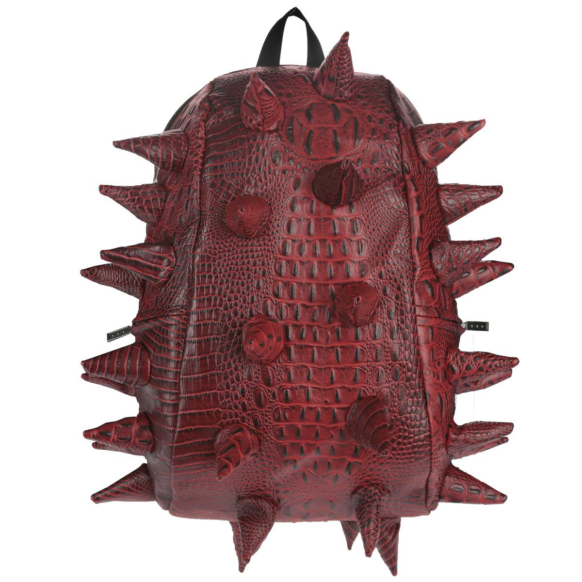 """Рюкзак городской MadPax Gator Full, цвет: красный, 27 лKZ24483897Городской рюкзак MadPax Gator Full - это стильный и практичный аксессуар, который станет незаменимым в ритме большого города. Верх рюкзака выполнен из 100% поливинила с тиснением под рептилию, шипы придают изделию неповторимый дизайн. Подкладка изготовлена из нейлона. Рюкзак имеет одно основное отделение на застежке-молнии. Размер Full позволяет поместить внутрь ноутбук с диагональю экрана 17"""", для этого предусмотрен специальный отдел с мягкими стенками, закрывающийся хлястиком на липучку. Также внутри содержится небольшой карман на молнии. Снаружи по бокам у рюкзака два кармана на молнии для разных мелочей. Сзади расположен кармашек из прозрачного ПВХ для визитки. Модель оснащена ручкой для переноски в руке, а также широкими плечевыми лямками с многослойной структурой, которые можно регулировать по длине. Специальная застежка-крепление соединяет и фиксирует лямки в районе груди, это позволяет равномерно распределить нагрузку на плечи и спину при максимальной загрузке..."""