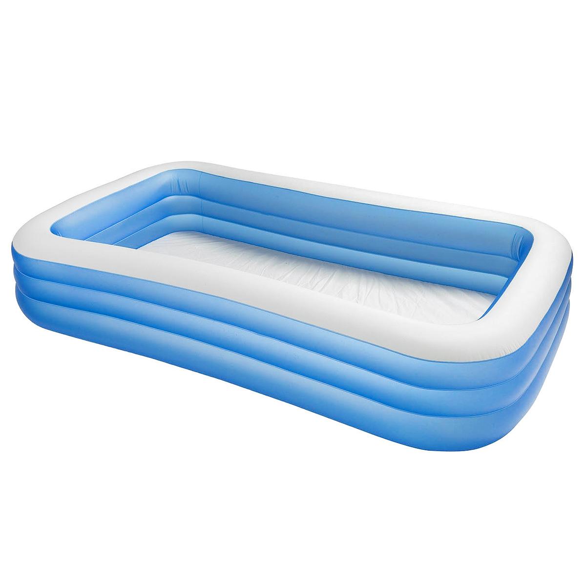 Бассейн надувной Intex Swim Center, цвет: голубой 305 см х 183 см х 56 смint58484NP_голубойНадувной бассейн Intex Swim Center просто незаменим в летний жаркий день дома или на даче. Он прямоугольной формы, выполнен из прочного винила белого и голубого цветов. Упругие стенки бассейна состоят из трех уровней. Широкие, прочные и упругие раздельные секции с двойными защитными клапанами служат надежными бортиками, на которых при желании можно посидеть или нырнуть с них в воду. В бассейне могут купаться несколько детей и взрослых одновременно. Яркий дизайн бассейна сделает его не только незаменимым атрибутом летнего отдыха, но и дополнением ландшафтного дизайна участка. В комплект с бассейном входит специальная заплатка для ремонта изделия в случае прокола. Гарантия производителя: 30 дней.