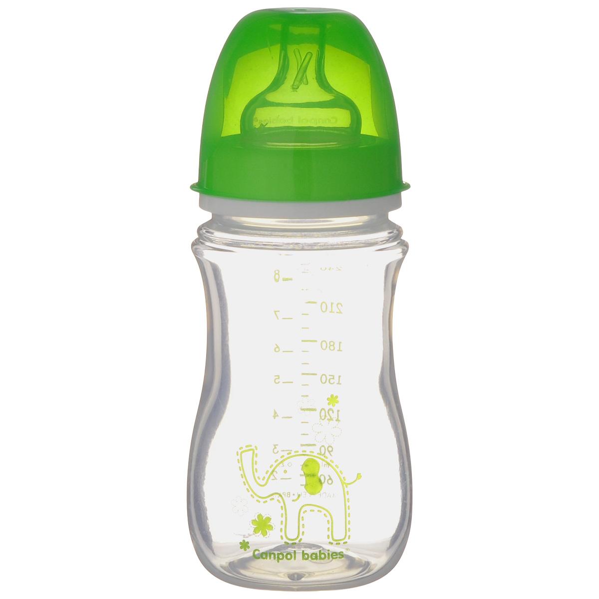 Canpol Babies Бутылочка антиколиковая Easy Start цвет зеленый 240 мл35/206_зеленыйБутылочка для кормления Canpol Babies Easy Start разработана специально, чтобы предоставить возможность сочетать грудное вскармливание и кормление из бутылочки, предотвратить появление колик. Бутылочка оснащена соской с системой вентиляции, препятствующей появлению колик. Соска напоминает по форме материнскую грудь. Крышка плотно закрывает соску, предохраняя ее от повреждения. Широкое горлышко и удобная мерная шкала позволяют быстро и точно подготовить необходимое количество пищи. Бутылочка выполнена в ярких цветах и оформлена красочным изображением очаровательного животного.