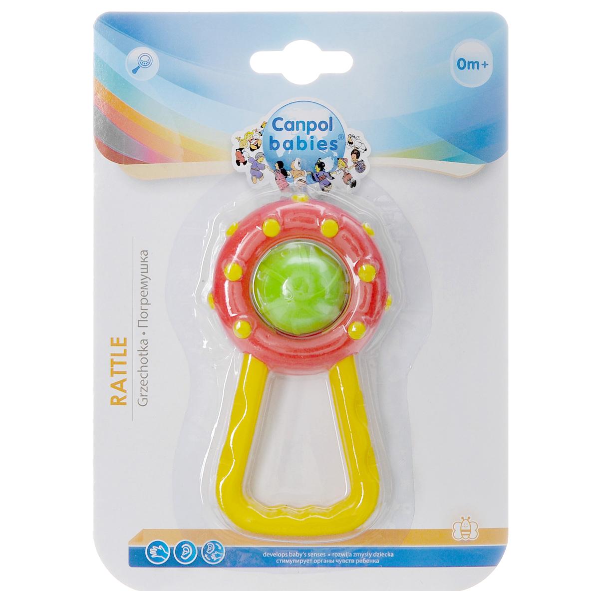 Погремушка Canpol Babies, цвет: желтый, красный. 2/8042/804_желтый/красныйЯркая игрушка-погремушка Canpol не оставит вашего малыша равнодушным и не позволит ему скучать! Игрушка представляет собой кольцо с вращающимся непрозрачным шаром, внутри которого расположены маленькие шарики, выполняющие роль погремушки. Удобная форма ручки погремушки позволит малышу с легкостью взять и держать ее. Яркие цвета игрушки направлены на развитие мыслительной деятельности, цветовосприятия, тактильных ощущений и мелкой моторики рук ребенка, а элемент погремушки способствует развитию слуха.