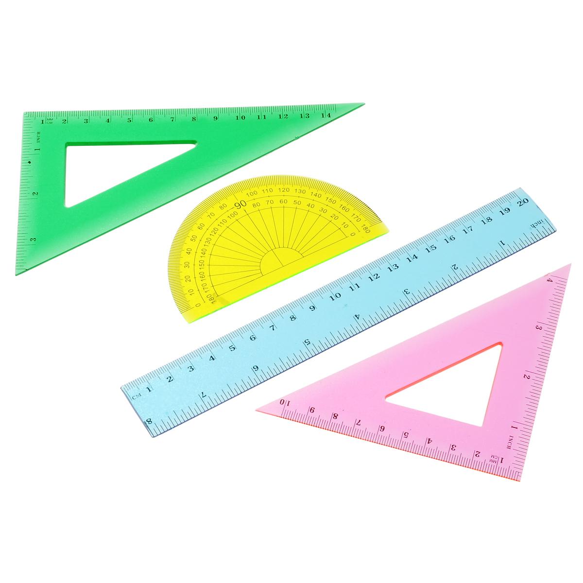 Геометрический набор Proff, 4 предмета. PDS20PDS20Геометрический набор Proff, выполненный из прозрачного пластика можно носить повсюду. Набор состоит из четырех предметов: линейки на 20 сантиметров, транспортира на 180 градусов и двух угольников. Один угольник с углами 45, 45, 90 градусов, одна сторона угольника представляет собой линейку на 15 сантиметров. Второй угольник с углами 30, 60, 90 градусов и линейкой на 11 сантиметров. Разметка шкалы нанесена на внутреннюю поверхность чертежных принадлежностей, что предотвращает ее истирание. Каждый чертежный инструмент имеет свои функциональные особенности, что делает работу с ними особенно удобной и легкой. УВАЖАЕМЫЕ КЛИЕНТЫ! Обращаем ваше внимание на ассортимент в цветовом дизайне товара. Поставка осуществляется в зависимости от наличия на складе.