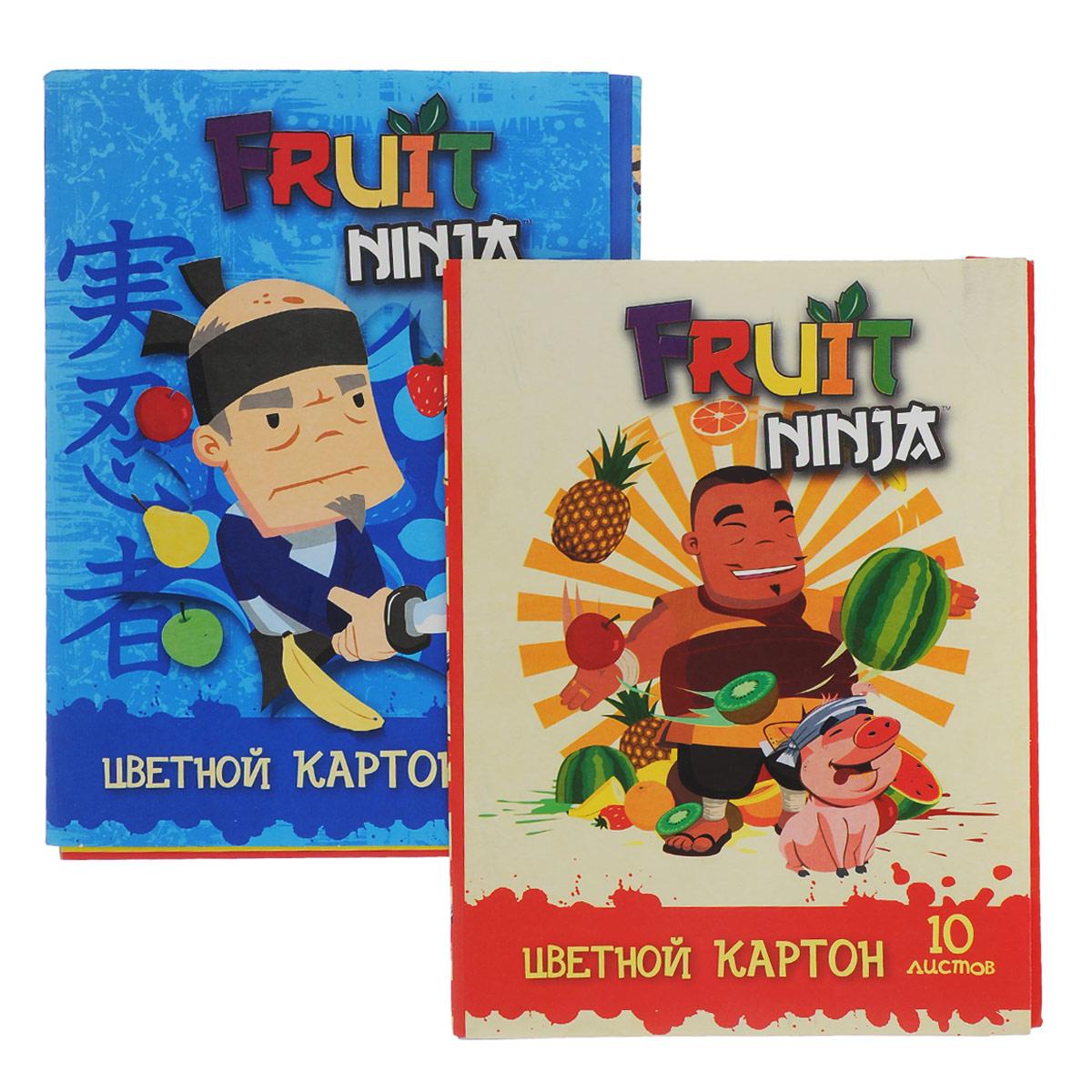"""Набор цветного картона """"Action!: Fruit Ninja"""", 20 цв, формат А4 -упаковка-2дизайна FN-CC-10/10"""