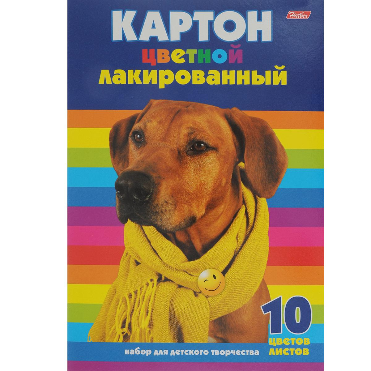 Картон цветной Hatber лакированный, 10 цв, формат А410Кц4_14036Картон цветной Hatber позволит создавать всевозможные аппликации и поделки. Набор включает 10 листов одностороннего цветного картона формата А4. Цвета: желтый, красный, оранжевый, зеленый, голубой, серебренный, золотистый, коричневый, синий, желтый, черный. Создание поделок из цветного картона позволяет ребенку развивать творческие способности, кроме того, это увлекательный досуг. Картон упакован в картонную папку с изображением милой собачки.