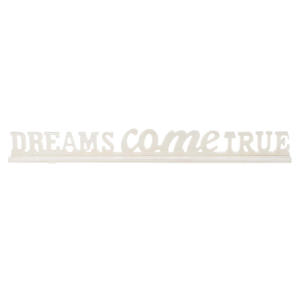 Заготовка для декупажа ScrapBerrys Dreams Come True, 40 см х 4 см х 4,5 смSCB350166Заготовка ScrapBerrys Надпись Dreams come true изготовлена из фанеры и предназначена для занятий декупажом. Она является хорошим объектом для вашего творчества и прекрасным подарком для юных художников, так как фанера отлично подходит для оформления красками. Заготовка имеет широкую подставку. Декупаж - техника декорирования различных предметов, основанная на присоединении рисунка, картины или орнамента (обычного вырезанного) к предмету и покрытии полученной композиции лаком ради эффектности, сохранности и долговечности. Размер подставки: 40 см х 4 см х 0,6 см. Размер надписи: 40 см х 4 см х 0,6 см.