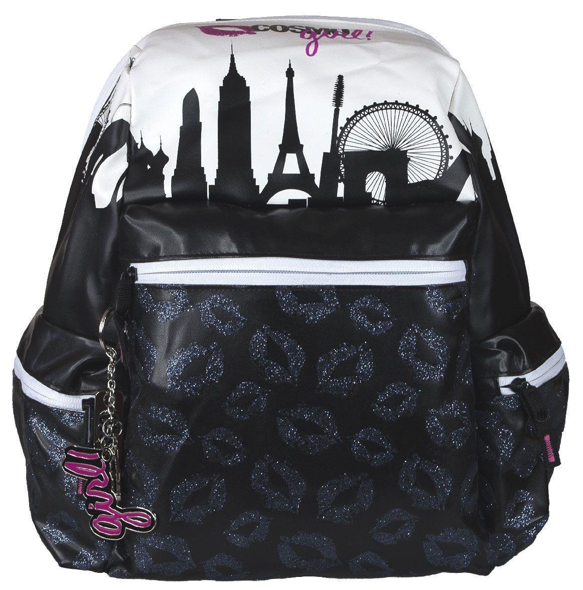 Сумка-рюкзак молодежная Cosmopolitan, цвет: черный, белый. CMCB-UT1-763CMCB-UT1-763Стильная молодежная сумка-рюкзак Cosmopolitan выполнена из прочного материала черного и белого цветов и дополнена тремя брелоками. Содержит одно вместительное отделение на застежке-молнии. Внутри отделения находятся: прорезной карман на молнии, два открытых кармашка и и два отделения для пишущих принадлежностей. На лицевой стороне расположен накладной карман на молнии. По бокам имеются два накладных кармана также на молнии. Изделие оснащено текстильными плечевыми лямками регулируемой длины и ручкой из пластика для переноски в руке. Эту сумку-рюкзак можно использовать для повседневных прогулок, отдыха, а также как элемент вашего имиджа. Рекомендуемый возраст: от 12 лет.