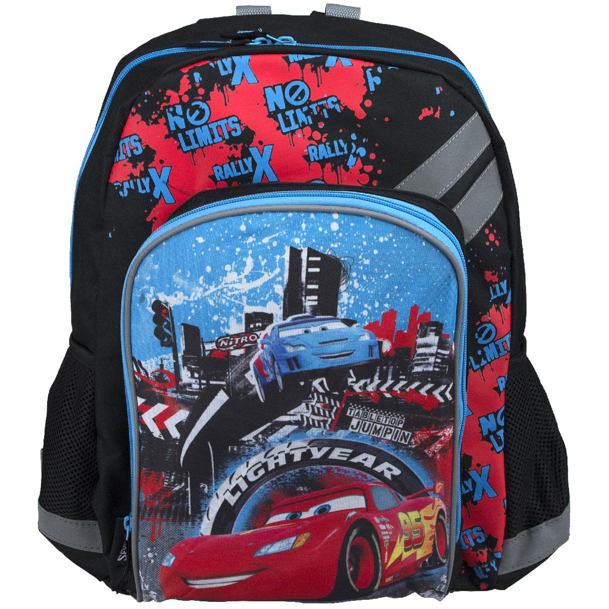 Рюкзак школьный Cars, цвет: черный, голубой, красный. CRCB-MT1-988MCRCB-MT1-988MРюкзак школьный Cars обязательно привлечет внимание вашего школьника. Выполнен из прочных и высококачественных материалов, дополнен изображением героев из мультфильма Тачки. Содержит одно вместительное отделение, закрывающееся на застежку-молнию с двумя бегунками. Внутри отделения находятся две перегородки для тетрадей или учебников, фиксирующиеся резинкой. Дно рюкзака можно сделать жестким, разложив специальную панель с пластиковой вставкой, что повышает сохранность содержимого рюкзака и способствует правильному распределению нагрузки. Лицевая сторона оснащена накладным карманом на молнии. По бокам расположены два накладных кармана-сетка. Конструкция спинки дополнена противоскользящей сеточкой и системой вентиляции для предотвращения запотевания спины ребенка. Мягкие широкие лямки S-образной позволяют легко и быстро отрегулировать рюкзак в соответствии с ростом. Рюкзак оснащен текстильной ручкой для удобной переноски в руке. Светоотражающие элементы...