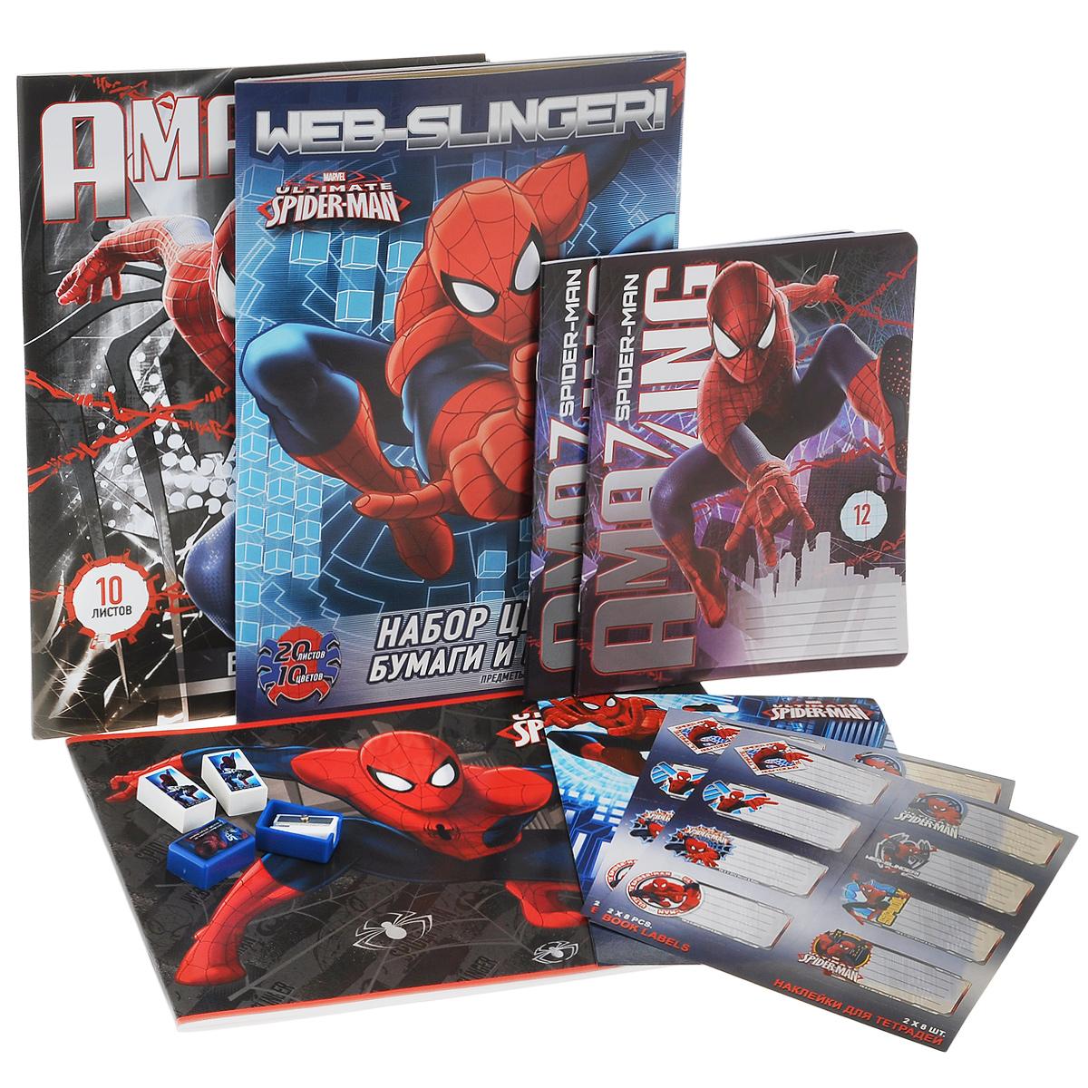 Набор школьных принадлежностей Spider-man, 53 предметаSMOZ-UT1-PVC5Набор школьных принадлежностей Spider-man позволит юным поклонникам мультсериала всегда быть подготовленными к урокам! Яркий набор школьных принадлежностей, на которых изображен Человек-паук, обязательно понравится вашему мальчику. Набор включает в себя: наклейки для тетрадей 16 штук, 2 точилки, 2 ластика, альбом для рисования 20 листов, набор цветной бумаги и цветного картона формата А4, 20 листов (10 цветов), белый картон формата А4, 10 листов, 2 школьных тетради 12 листов (в клетку, в линейку). Все предметы набора упакованы в прозрачную сумку-чехол. Сумка закрывается на пластиковую застежку-молнию и имеет специальную ручку для переноски. Порадуйте своего ребенка стильным набором со всем необходимым к школе!