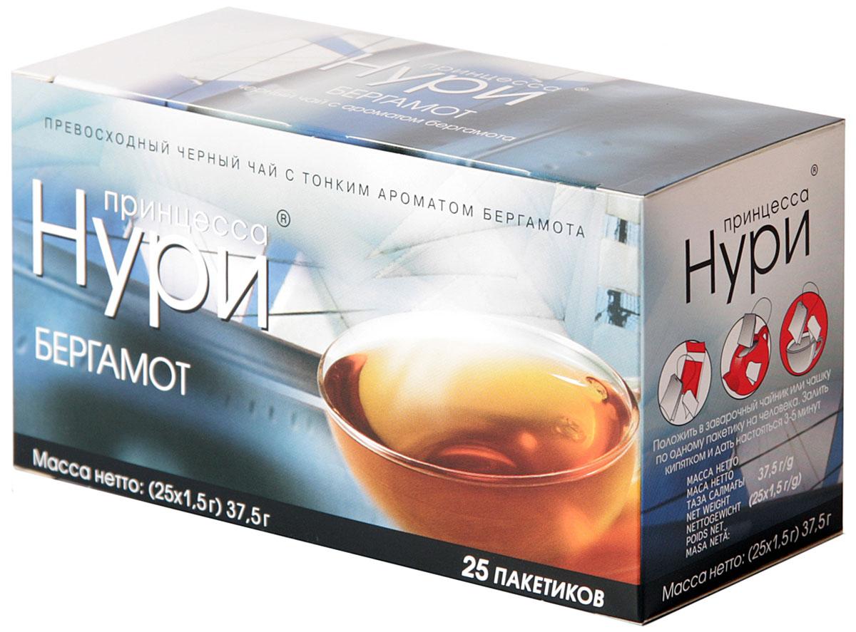 Принцесса Нури Бергамот черный ароматизированный чай в пакетиках, 25 шт