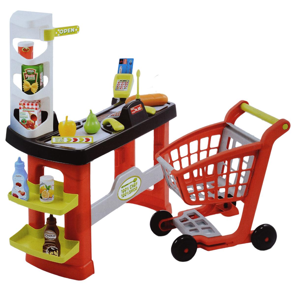 Игровой набор Ecoiffier Супермаркет с тележкой, 20 предметов1740Игровой набор Ecoiffier Супермаркет с тележкой - это отличный подарок для юных любителей игры в магазин. Этот набор обязательно придется по душе всем малышам! Размеры кассовой стойки позволяют играть с ней сразу нескольким детям: один малыш выступает в роли покупателя, доставая свои покупки из тележки на ленту, а второй - в роли продавца, пробивая покупки. В набор из 20 предметов входит все необходимое для этого: кассовая стойка с полками для товара, терминал и кассовый аппарат с выдвигающимся ящичком для денег, тележка для продуктов на колесиках, электронные весы, игрушечные продукты, сканер штрих-кода, ценники и игрушечные деньги, чтобы расплачиваться за покупки. Все детали выполнены из экологичного и безопасного пластика. Такой набор будет способствовать развитию фантазии и воображения детей, и, конечно, позволит ближе познакомиться с реальным миром. Порадуйте своего ребенка таким замечательным подарком!