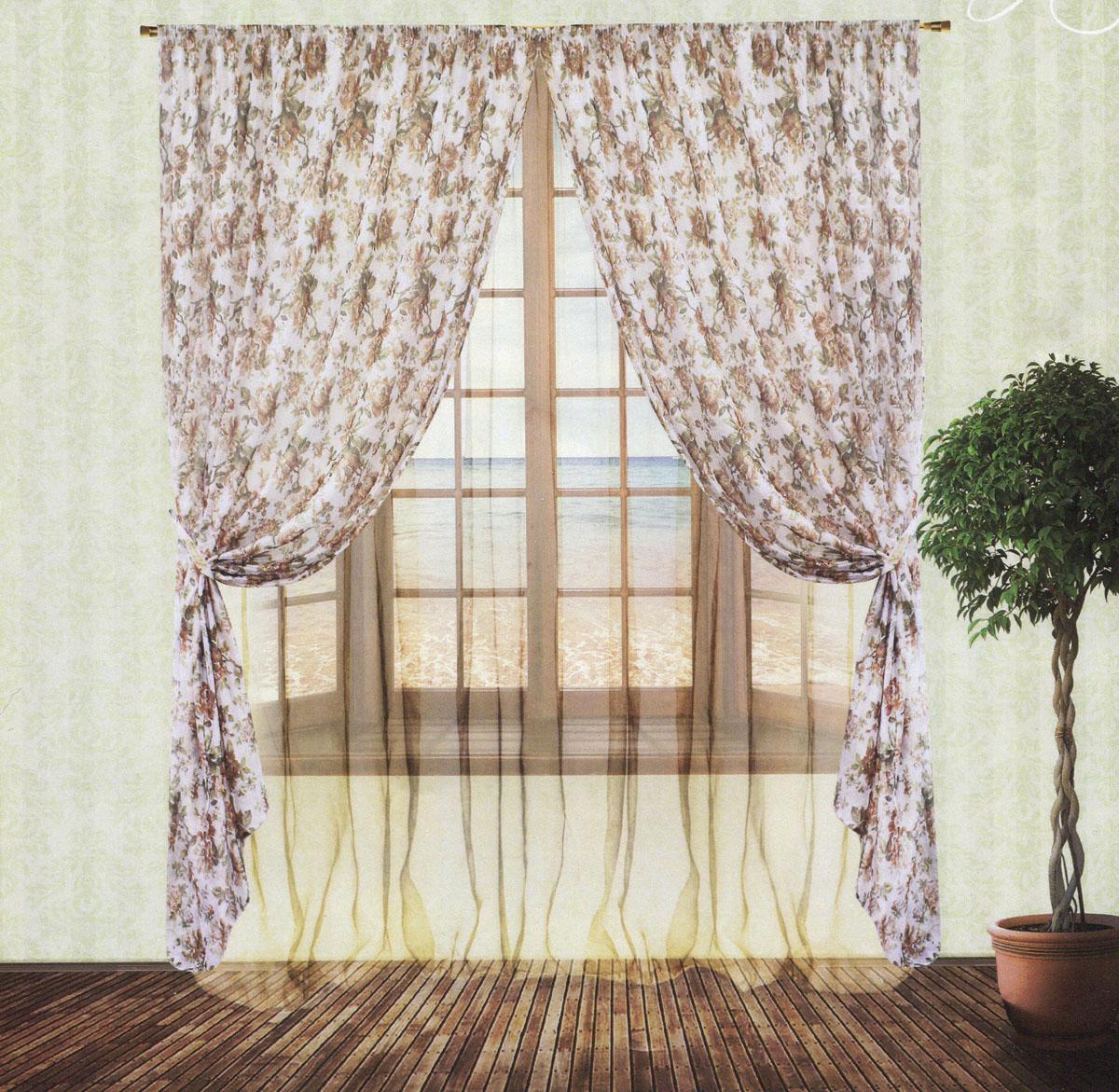 Комплект штор Zlata Korunka, на ленте, цвет: бежевый, белый, высота 250 см. 5553955539Роскошный комплект тюлевых штор Zlata Korunka, выполненный из органзы и микровуали (100% полиэстера), великолепно украсит любое окно. Комплект состоит из двух штор, тюля и двух подхватов. Полупрозрачная ткань, цветочный принт и приятная, приглушенная гамма привлекут к себе внимание и органично впишутся в интерьер помещения. Комплект крепится на карниз при помощи шторной ленты, которая поможет красиво и равномерно задрапировать верх. Шторы можно зафиксировать в одном положении с помощью двух подхватов. Этот комплект будет долгое время радовать вас и вашу семью! В комплект входит: Штора: 2 шт. Размер (ШхВ): 200 см х 250 см. Тюль: 1 шт. Размер (ШхВ): 400 см х 250 см. Подхват: 2 шт. Размер (ШхВ): 60 см х 10 см.