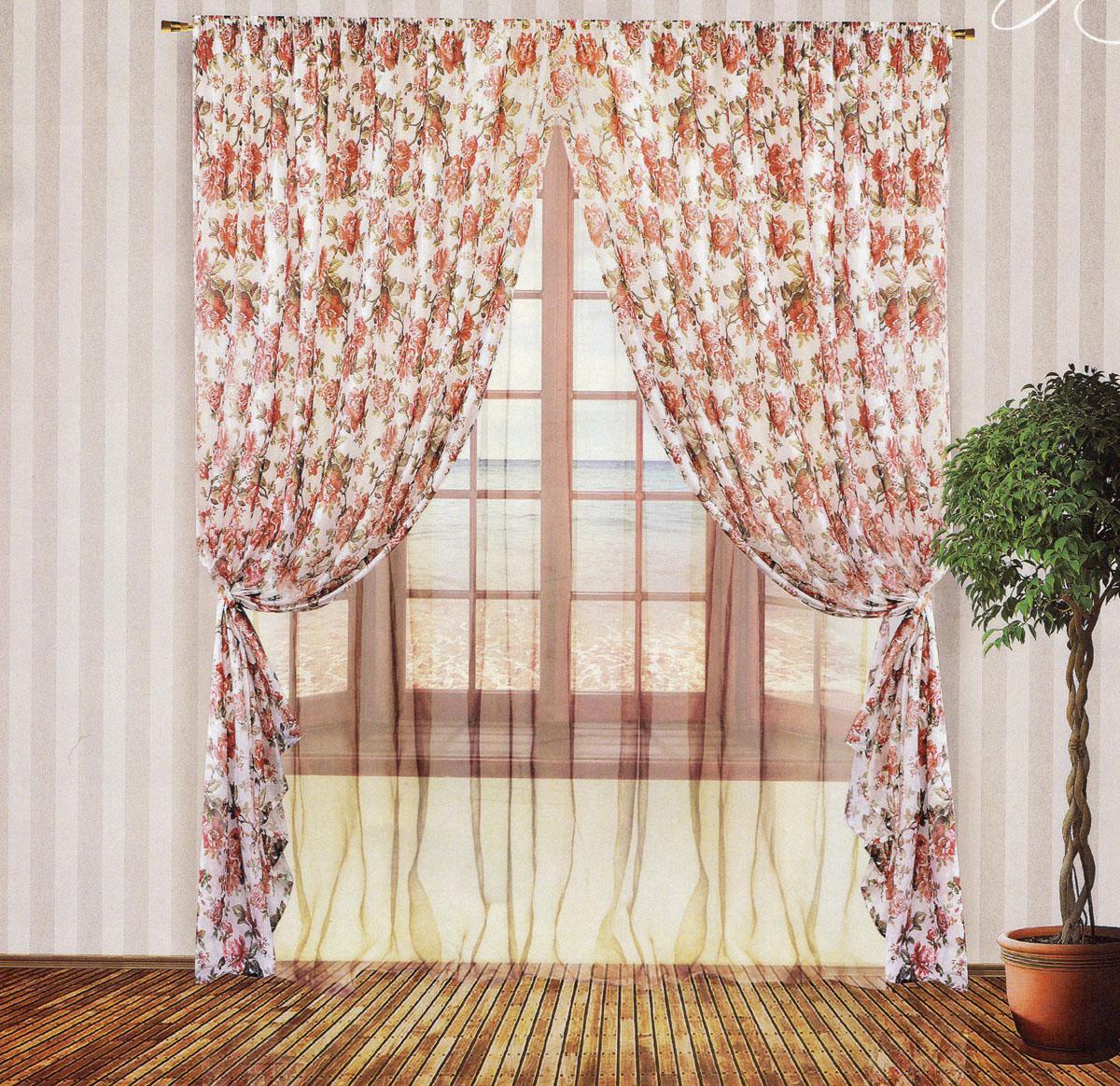 Комплект штор Zlata Korunka, на ленте, цвет: розовый, белый, высота 250 см. 5553455534Роскошный комплект тюлевых штор Zlata Korunka, выполненный из органзы и микровуали (100% полиэстера), великолепно украсит любое окно. Комплект состоит из двух штор, тюля и двух подхватов. Полупрозрачная ткань, цветочный принт и приятная, приглушенная гамма привлекут к себе внимание и органично впишутся в интерьер помещения. Комплект крепится на карниз при помощи шторной ленты, которая поможет красиво и равномерно задрапировать верх. Шторы можно зафиксировать в одном положении с помощью двух подхватов. Этот комплект будет долгое время радовать вас и вашу семью! В комплект входит: Штора: 2 шт. Размер (ШхВ): 200 см х 250 см. Тюль: 1 шт. Размер (ШхВ): 400 см х 250 см. Подхват: 2 шт. Размер (ШхВ): 60 см х 10 см.