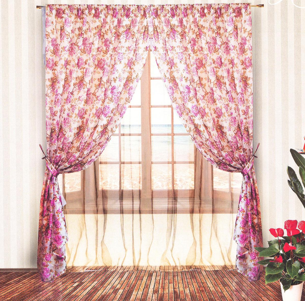 Комплект штор Zlata Korunka, на ленте, цвет: сиреневый, белый, высота 250 см. 5553555535Роскошный комплект тюлевых штор Zlata Korunka, выполненный из органзы и микровуали (100% полиэстера), великолепно украсит любое окно. Комплект состоит из двух штор, тюля и двух подхватов. Полупрозрачная ткань, цветочный принт и приятная, приглушенная гамма привлекут к себе внимание и органично впишутся в интерьер помещения. Комплект крепится на карниз при помощи шторной ленты, которая поможет красиво и равномерно задрапировать верх. Шторы можно зафиксировать в одном положении с помощью двух подхватов. Этот комплект будет долгое время радовать вас и вашу семью! В комплект входит: Штора: 2 шт. Размер (ШхВ): 200 см х 250 см. Тюль: 1 шт. Размер (ШхВ): 400 см х 250 см. Подхват: 2 шт. Размер (ШхВ): 60 см х 10 см.