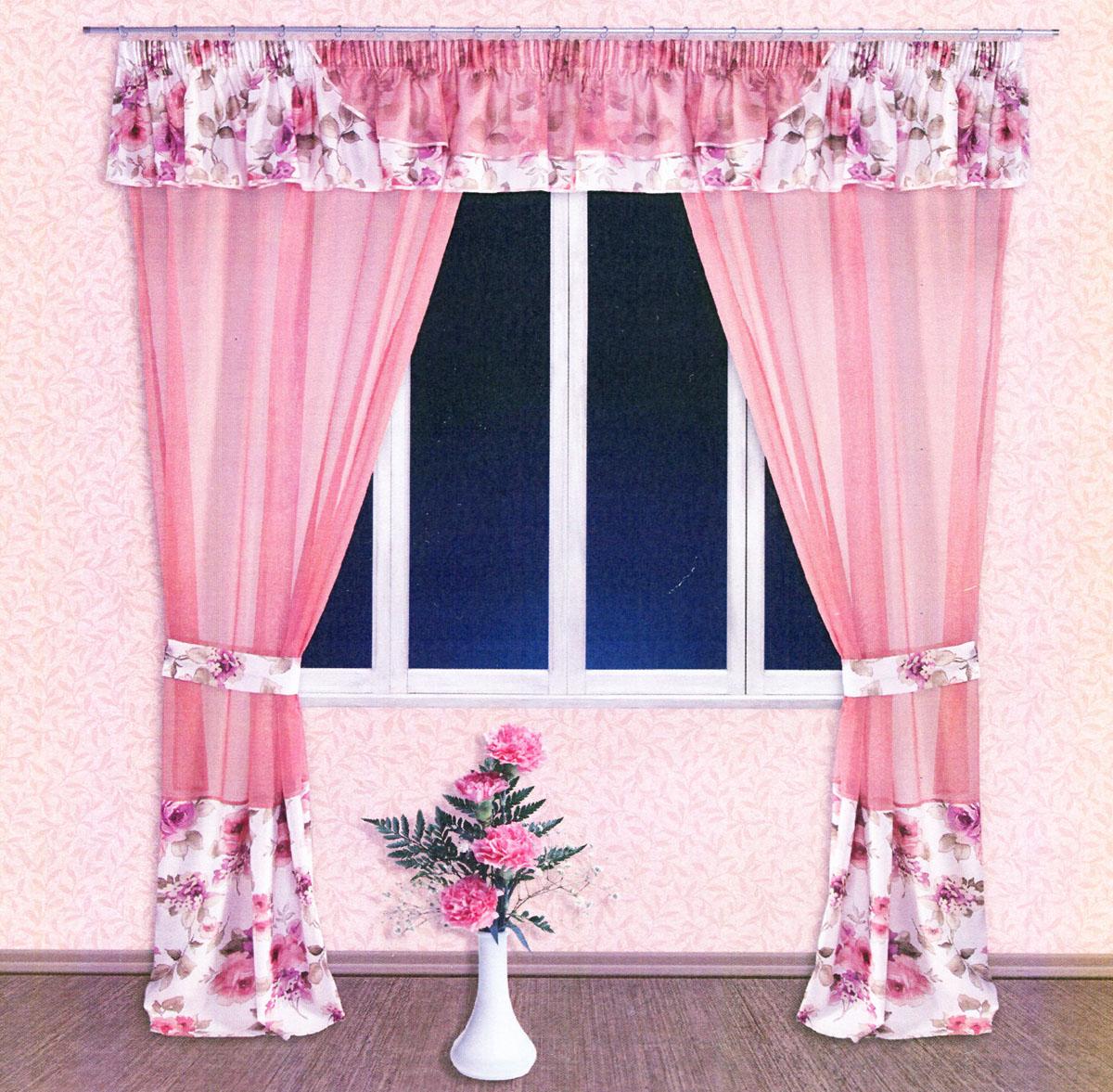 Комплект штор Zlata Korunka, на ленте, цвет: персиковый, белый, сиреневый, высота 250 см. 5552755527Роскошный комплект тюлевых штор Zlata Korunka, выполненный из вуали и сатина (100% полиэстера), великолепно украсит любое окно. Комплект состоит из двух штор, ламбрекена и двух подхватов. Полупрозрачная ткань, цветочный принт и приятная, приглушенная гамма привлекут к себе внимание и органично впишутся в интерьер помещения. Комплект крепится на карниз при помощи шторной ленты, которая поможет красиво и равномерно задрапировать верх. Шторы можно зафиксировать в одном положении с помощью двух подхватов. Этот комплект будет долгое время радовать вас и вашу семью! В комплект входит: Штора: 2 шт. Размер (ШхВ): 140 см х 250 см. Ламбрекен: 1 шт. Размер (ШхВ): 400 см х 50 см. Подхват: 2 шт. Размер (ШхВ): 60 см х 10 см.