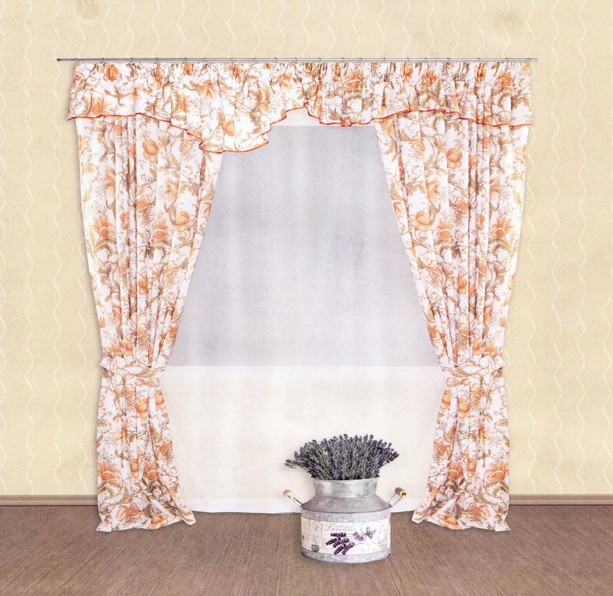 Комплект штор Zlata Korunka, на ленте, цвет: белый, светло-коричневый, высота 250 см. 5550155501Роскошный комплект штор Zlata Korunka, выполненный из сатина и вуали (100% полиэстера), великолепно украсит любое окно. Комплект состоит из двух портьер, ламбрекена, тюля и двух подхватов. Полупрозрачная ткань, цветочный принт и приятная, приглушенная гамма привлекут к себе внимание и органично впишутся в интерьер помещения. Комплект крепится на карниз при помощи шторной ленты, которая поможет красиво и равномерно задрапировать верх. Портьеры можно зафиксировать в одном положении с помощью двух подхватов. Этот комплект будет долгое время радовать вас и вашу семью! В комплект входит: Портьера: 2 шт. Размер (ШхВ): 140 см х 250 см. Ламбрекен: 1 шт. Размер (ШхВ): 400 см х 50 см. Тюль: 1 шт. Размер (ШхВ): 300 см х 250 см. Подхват: 2 шт. Размер (ШхВ): 60 см х 10 см.