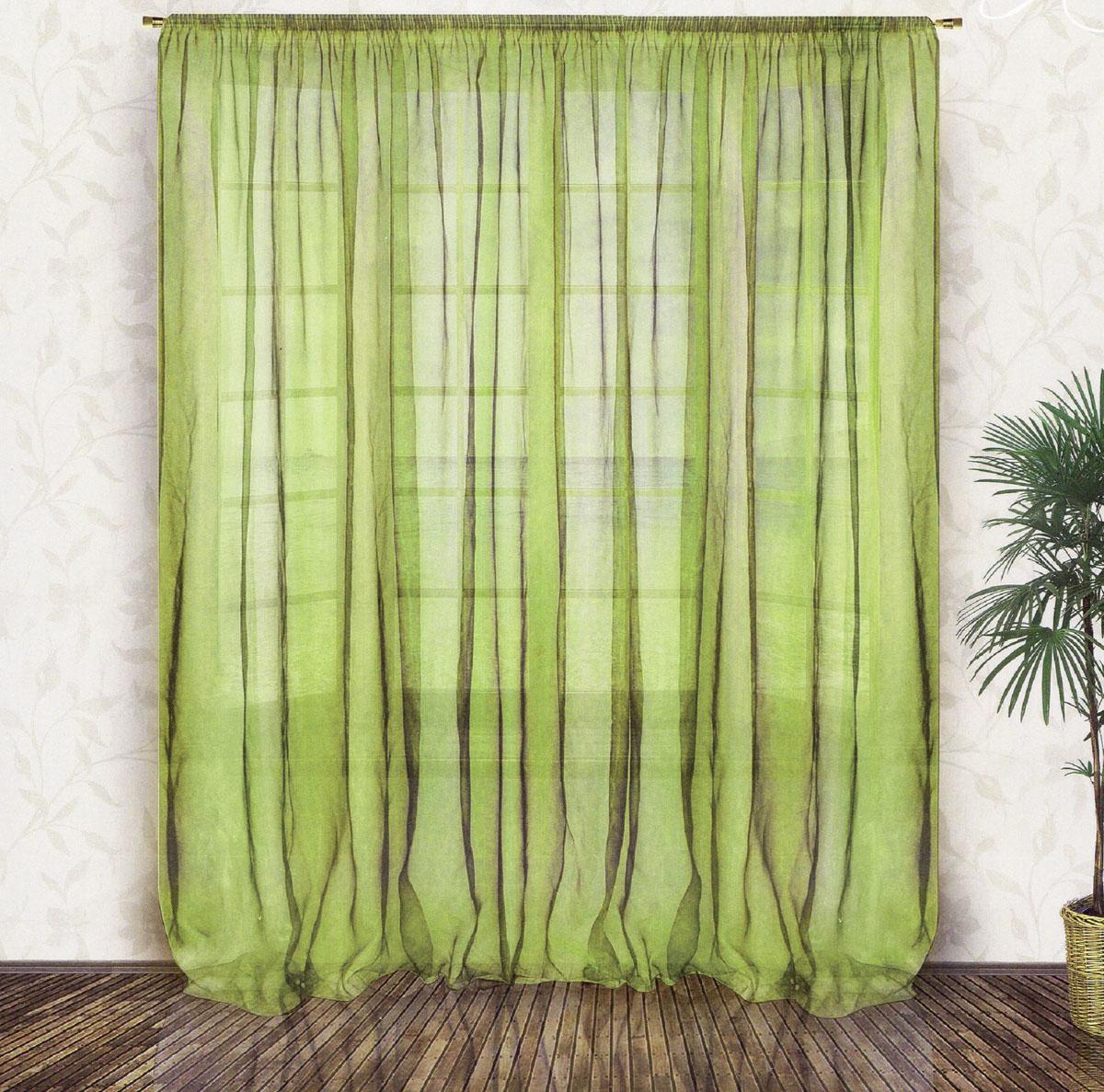 Тюль Zlata Korunka, на ленте, цвет: зеленый, высота 250 см. 5553355533Тюль Zlata Korunka, изготовленный из органзы (100% полиэстера), великолепно украсит любое окно. Воздушная ткань и приятная, приглушенная гамма привлекут к себе внимание и органично впишутся в интерьер помещения. Полиэстер - вид ткани, состоящий из полиэфирных волокон. Ткани из полиэстера - легкие, прочные и износостойкие. Такие изделия не требуют специального ухода, не пылятся и почти не мнутся. Тюль крепится на карниз при помощи ленты, которая поможет красиво и равномерно задрапировать верх. Такой тюль идеально оформит интерьер любого помещения.