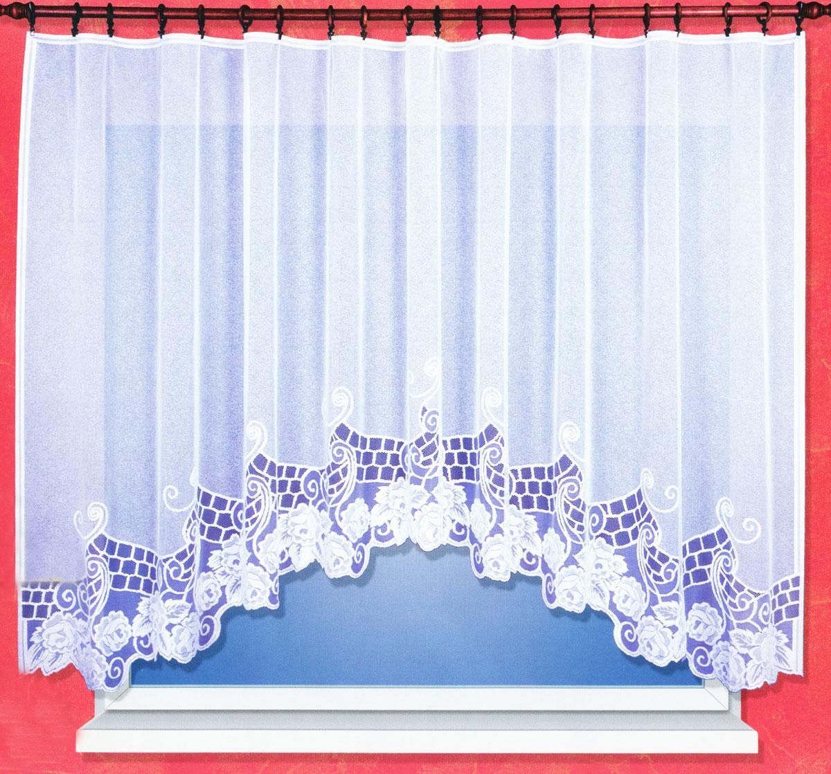 Гардина Haft, на ленте, цвет: белый, высота 160 см. 38200/16038200/160Гардина Haft, изготовленная из сетчатой ткани (100% полиэстера), великолепно украсит любое окно. Полупрозрачная ткань и цветочная вышивка привлекут к себе внимание и органично впишутся в интерьер помещения. Полиэстер - вид ткани, состоящий из полиэфирных волокон. Ткани из полиэстера - легкие, прочные и износостойкие. Такие изделия не требуют специального ухода, не пылятся и почти не мнутся. Гардина крепится на карниз при помощи ленты, которая поможет красиво и равномерно задрапировать верх. Такая гардина идеально оформит интерьер любого помещения.