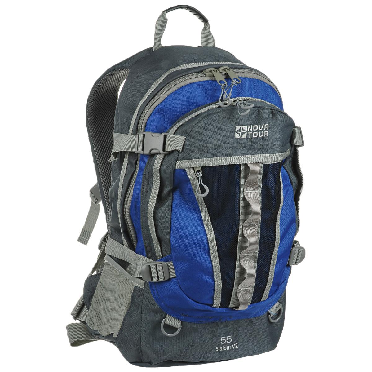Рюкзак городской Nova Tour Слалом 55 V2, цвет: серый, синий. 95138-458-0095138-458-00Если все, что нужно ежедневно носить с собой, не помещается в обычный рюкзак, то Слалом 55 V2 специально для вас. Два вместительных отделения можно уменьшить боковыми стяжками или наоборот, если что-то не поместилось внутри, навесить снаружи на узлы крепления. Для удобства переноски тяжелого груза, на спинке предусмотрена удобная система подушек Air Mesh с полностью отстегивающимся поясным ремнем. Особенности: Прочная ткань с непромокаемой пропиткой. Сетчатый материал, отводящий влагу от вашего тела. Применяется на лямках, спинках и поясе рюкзака. Грудная стяжка для правильной фиксации лямок рюкзака и предотвращения их соскальзывания. Органайзер позволяет рационально разместить мелкие вещи внутри рюкзака. Объем: 55 л.