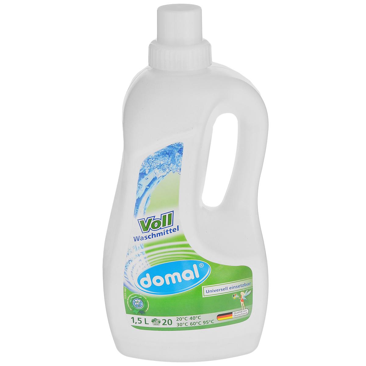 Жидкое средство Domal для цветного белья, универсальное, 1,5 л129591Универсальное жидкое средство Domal - лучший выбор для идеальной чистоты и совершенного ухода! Благодаря активной формуле с эффектом интенсивного пятноудаления, средство безупречно растворяет всевозможные, даже глубоко въевшиеся и застарелые загрязнения, в том числе жировые и масляные пятна, даже при низких температурах стирки. Предназначен для стирки изделий из хлопка, синтетических и смесовых тканей всех цветов. Бережно заботится о цвете и волокнах тканей, не повреждая их структуру. Сохраняет форму и безупречный первоначальный вид изделий. Имеет свежий аромат. Крышка флакона является удобным дозировочным колпачком, позволяющим использовать средство быстро, легко и экономно. Не применять для шерсти и шелка! Предназначено для всех типов стиральных машин и ручной стирки при температуре от 20° до 95°. Экономичность: 1 флакона средства достаточно более чем для 20 машинных стирок. Состав: 5-15% неионных ПАВ, 5-15% анионных ПАВ, мыло, менее 5% фосфонаты,...