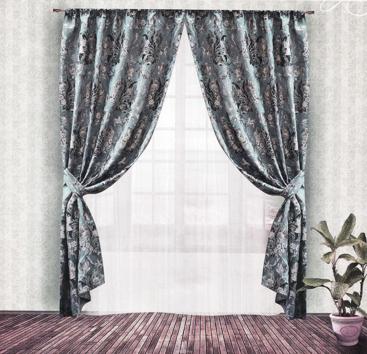 Комплект штор Zlata Korunka, на ленте, цвет: серо-голубой, высота 250 см. 5553855538Роскошный комплект штор Zlata Korunka, выполненный из гобелена (100% полиэстера), великолепно украсит любое окно. Комплект состоит из двух портьер и двух подхватов. Плотная ткань, цветочный принт и приятная, приглушенная гамма привлекут к себе внимание и органично впишутся в интерьер помещения. Комплект крепится на карниз при помощи шторной ленты, которая поможет красиво и равномерно задрапировать верх. Портьеры можно зафиксировать в одном положении с помощью двух подхватов. Этот комплект будет долгое время радовать вас и вашу семью! В комплект входит: Портьера: 2 шт. Размер (ШхВ): 140 см х 250 см. Подхват: 2 шт. Размер (ШхВ): 60 см х 10 см.