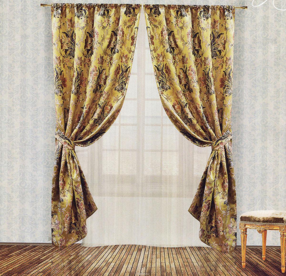 Комплект штор Zlata Korunka, на ленте, цвет: золотистый, высота 250 см. 5553755537Роскошный комплект штор Zlata Korunka, выполненный из гобелена (100% полиэстера), великолепно украсит любое окно. Комплект состоит из двух портьер и двух подхватов. Плотная ткань, цветочный принт и приятная, приглушенная гамма привлекут к себе внимание и органично впишутся в интерьер помещения. Комплект крепится на карниз при помощи шторной ленты, которая поможет красиво и равномерно задрапировать верх. Портьеры можно зафиксировать в одном положении с помощью двух подхватов. Этот комплект будет долгое время радовать вас и вашу семью! В комплект входит: Портьера: 2 шт. Размер (ШхВ): 140 см х 250 см. Подхват: 2 шт. Размер (ШхВ): 60 см х 10 см.