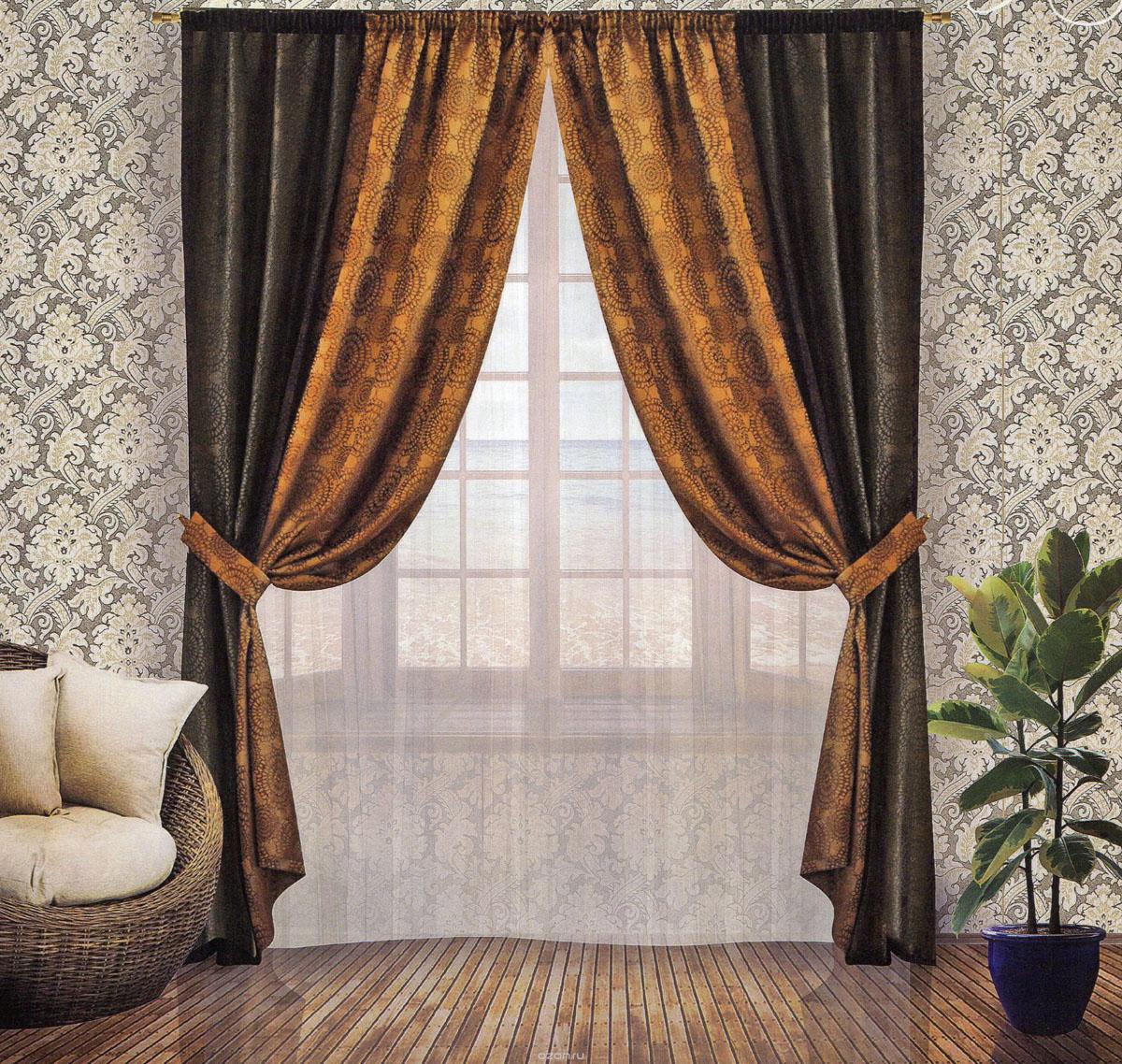 Комплект штор Zlata Korunka, на ленте, цвет: шоколадный, венге, высота 250 см. 5554155541Роскошный комплект штор Zlata Korunka, выполненный из сатина и жаккарда (100% полиэстера), великолепно украсит любое окно. Комплект состоит из двух портьер и двух подхватов. Плотная ткань, оригинальный орнамент и приятная, приглушенная гамма привлекут к себе внимание и органично впишутся в интерьер помещения. Комплект крепится на карниз при помощи шторной ленты, которая поможет красиво и равномерно задрапировать верх. Портьеры можно зафиксировать в одном положении с помощью двух подхватов. Этот комплект будет долгое время радовать вас и вашу семью! В комплект входит: Портьера: 2 шт. Размер (ШхВ): 170 см х 250 см. Подхват: 2 шт. Размер (ШхВ): 60 см х 10 см.