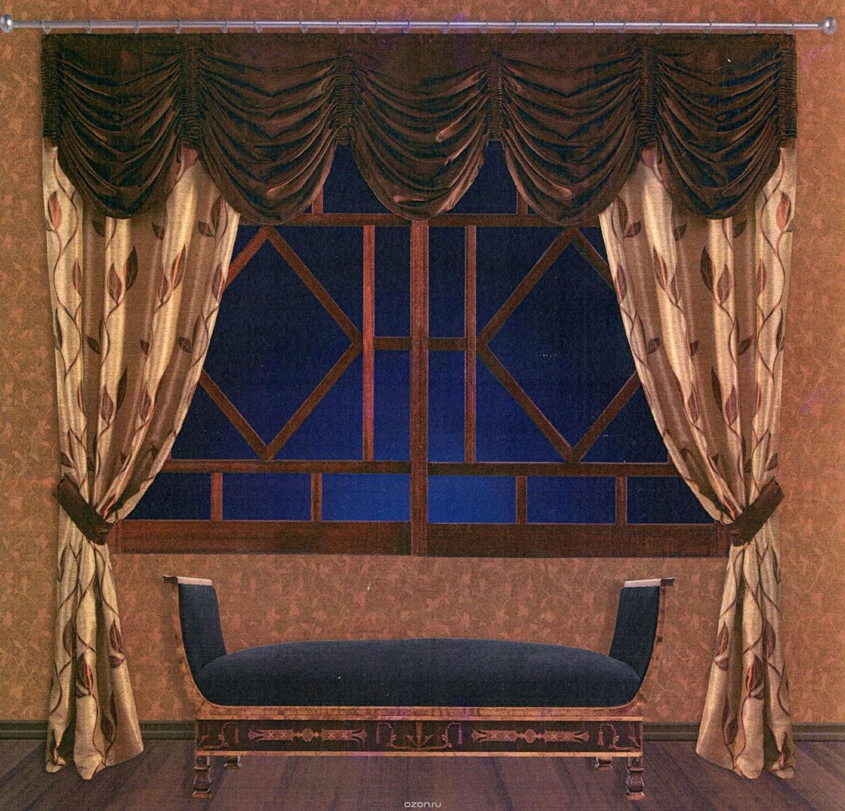 Комплект штор Zlata Korunka, на ленте, цвет: золотистый, коричневый, высота 250 см. 5550655506Роскошный комплект штор Zlata Korunka, выполненный из ткани сатин санрайз и шанзализе (100% полиэстера), великолепно украсит любое окно. Комплект состоит из двух портьер, ламбрекена и двух подхватов. Плотная ткань, изображение листьев и приятная, приглушенная гамма привлекут к себе внимание и органично впишутся в интерьер помещения. Комплект крепится на карниз при помощи шторной ленты, которая поможет красиво и равномерно задрапировать верх. Портьеры можно зафиксировать в одном положении с помощью двух подхватов. Этот комплект будет долгое время радовать вас и вашу семью! В комплект входит: Портьера: 2 шт. Размер (ШхВ): 145 см х 250 см. Ламбрекен: 1 шт. Размер (ШхВ): 300 см х 50 см. Подхват: 2 шт. Размер (ШхВ): 60 см х 10 см.