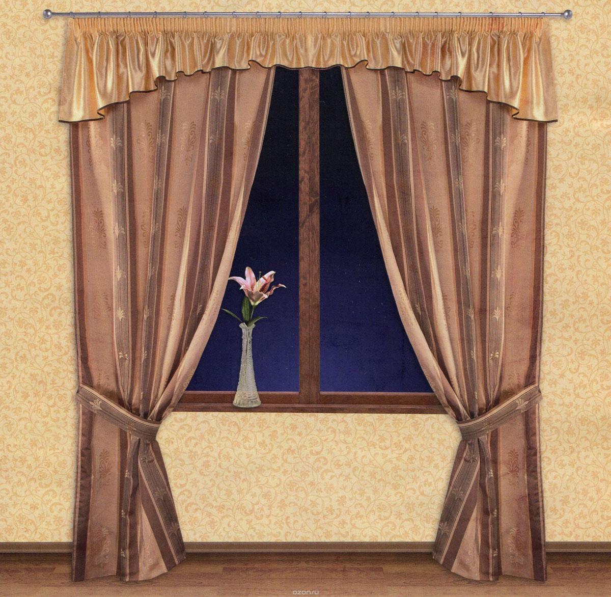 Комплект штор Zlata Korunka, на ленте, цвет: бежевый, коричневый, высота 250 см. 5551655516Роскошный комплект штор Zlata Korunka, выполненный из ткани барокко и шанзализе (100% полиэстера), великолепно украсит любое окно. Комплект состоит из двух портьер, ламбрекена и двух подхватов. Плотная ткань, оригинальный орнамент и приятная, приглушенная гамма привлекут к себе внимание и органично впишутся в интерьер помещения. Комплект крепится на карниз при помощи шторной ленты, которая поможет красиво и равномерно задрапировать верх. Портьеры можно зафиксировать в одном положении с помощью двух подхватов. Этот комплект будет долгое время радовать вас и вашу семью! В комплект входит: Портьера: 2 шт. Размер (ШхВ): 140 см х 250 см. Ламбрекен: 1 шт. Размер (ШхВ): 400 см х 50 см. Подхват: 2 шт. Размер (ШхВ): 60 см х 10 см.