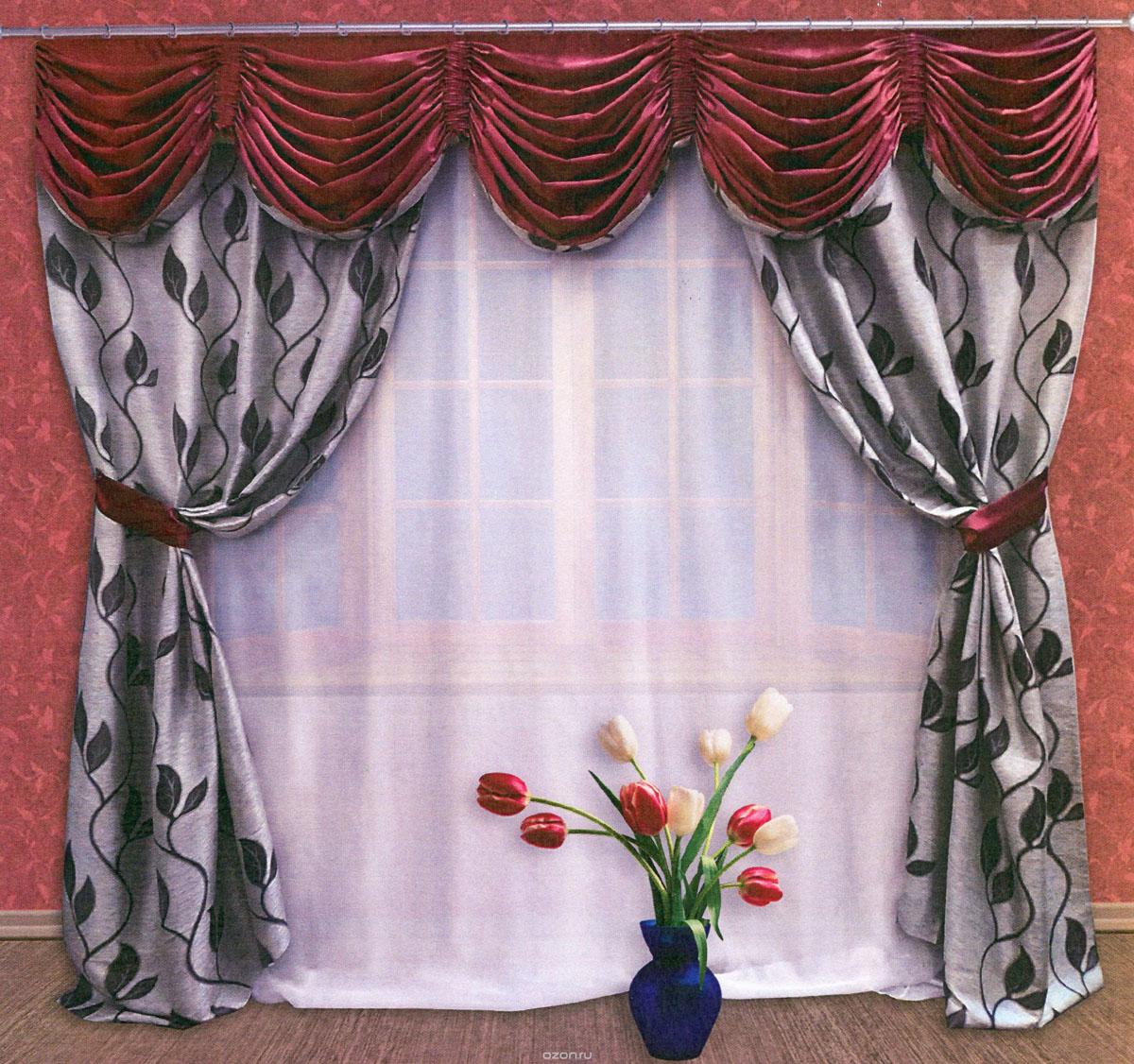 Комплект штор Zlata Korunka, на ленте, цвет: серый, бордовый, высота 250 см. 5550855508Роскошный комплект штор Zlata Korunka, выполненный из ткани сатин санрайз и шанзализе (100% полиэстера), великолепно украсит любое окно. Комплект состоит из двух портьер, ламбрекена и двух подхватов. Плотная ткань, изображение листьев и приятная, приглушенная гамма привлекут к себе внимание и органично впишутся в интерьер помещения. Комплект крепится на карниз при помощи шторной ленты, которая поможет красиво и равномерно задрапировать верх. Портьеры можно зафиксировать в одном положении с помощью двух подхватов. Этот комплект будет долгое время радовать вас и вашу семью! В комплект входит: Портьера: 2 шт. Размер (ШхВ): 145 см х 250 см. Ламбрекен: 1 шт. Размер (ШхВ): 300 см х 50 см. Подхват: 2 шт. Размер (ШхВ): 60 см х 10 см.