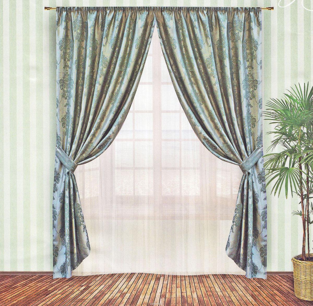 Комплект штор Zlata Korunka, на ленте, цвет: зеленый, высота 250 см. 5554555545Роскошный комплект штор Zlata Korunka, выполненный из жаккарда (100% полиэстера), великолепно украсит любое окно. Комплект состоит из двух портьер и двух подхватов. Плотная ткань, цветочный принт и приятная, приглушенная гамма привлекут к себе внимание и органично впишутся в интерьер помещения. Комплект крепится на карниз при помощи шторной ленты, которая поможет красиво и равномерно задрапировать верх. Портьеры можно зафиксировать в одном положении с помощью двух подхватов. Этот комплект будет долгое время радовать вас и вашу семью! В комплект входит: Портьера: 2 шт. Размер (ШхВ): 150 см х 250 см. Подхват: 2 шт. Размер (ШхВ): 60 см х 10 см.